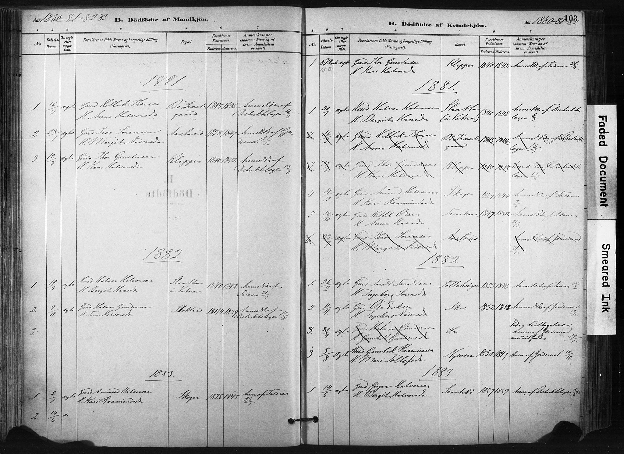SAKO, Bø kirkebøker, F/Fa/L0010: Ministerialbok nr. 10, 1880-1892, s. 103