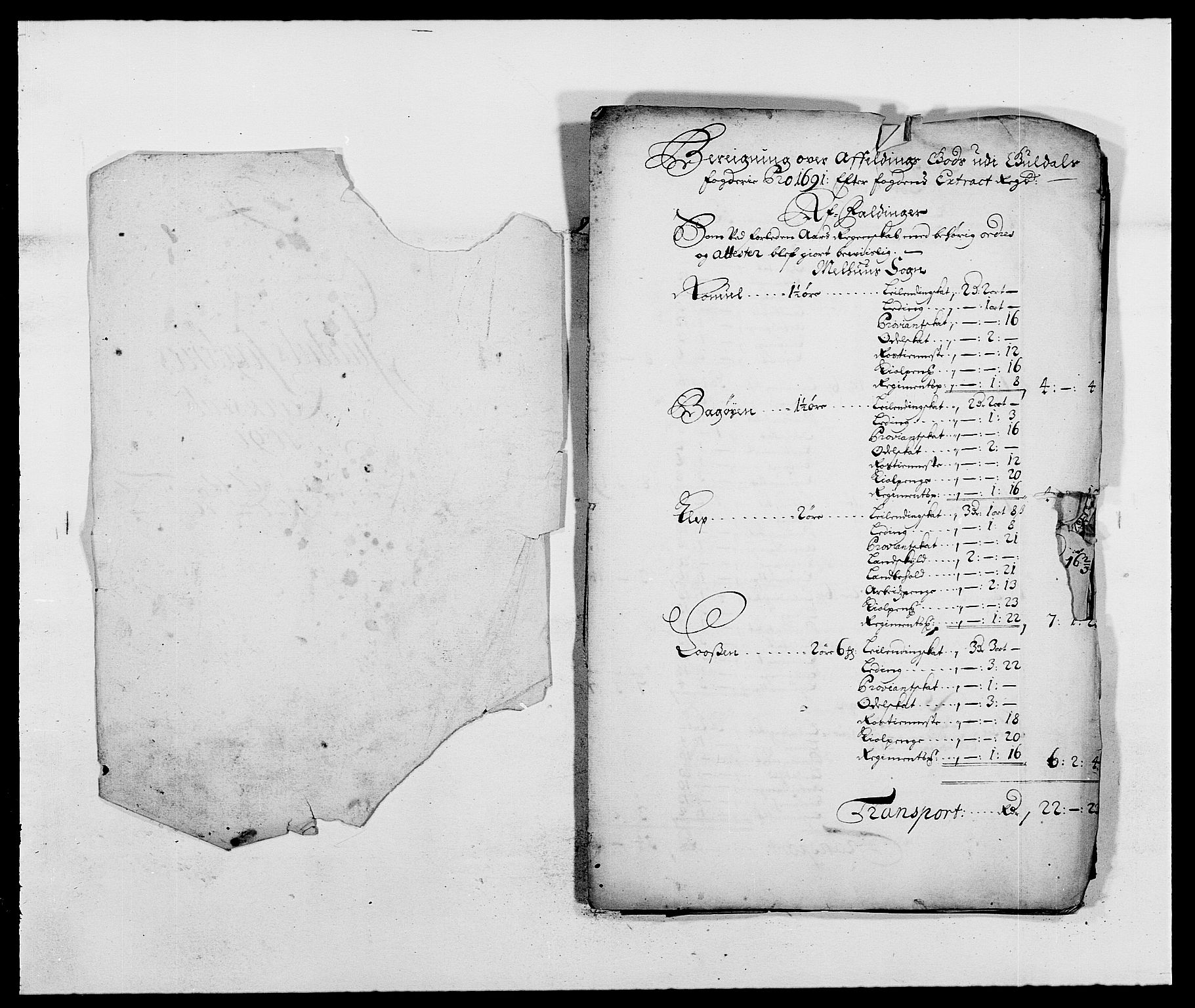 RA, Rentekammeret inntil 1814, Reviderte regnskaper, Fogderegnskap, R59/L3941: Fogderegnskap Gauldal, 1691, s. 271
