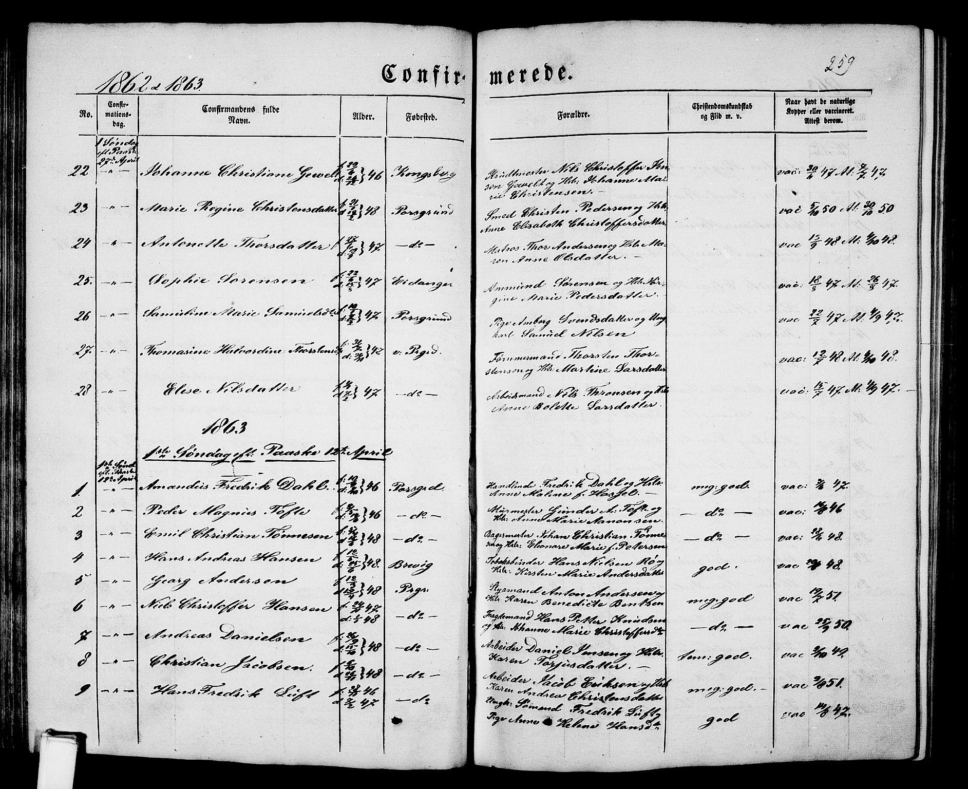 SAKO, Porsgrunn kirkebøker , G/Gb/L0004: Klokkerbok nr. II 4, 1853-1882, s. 259