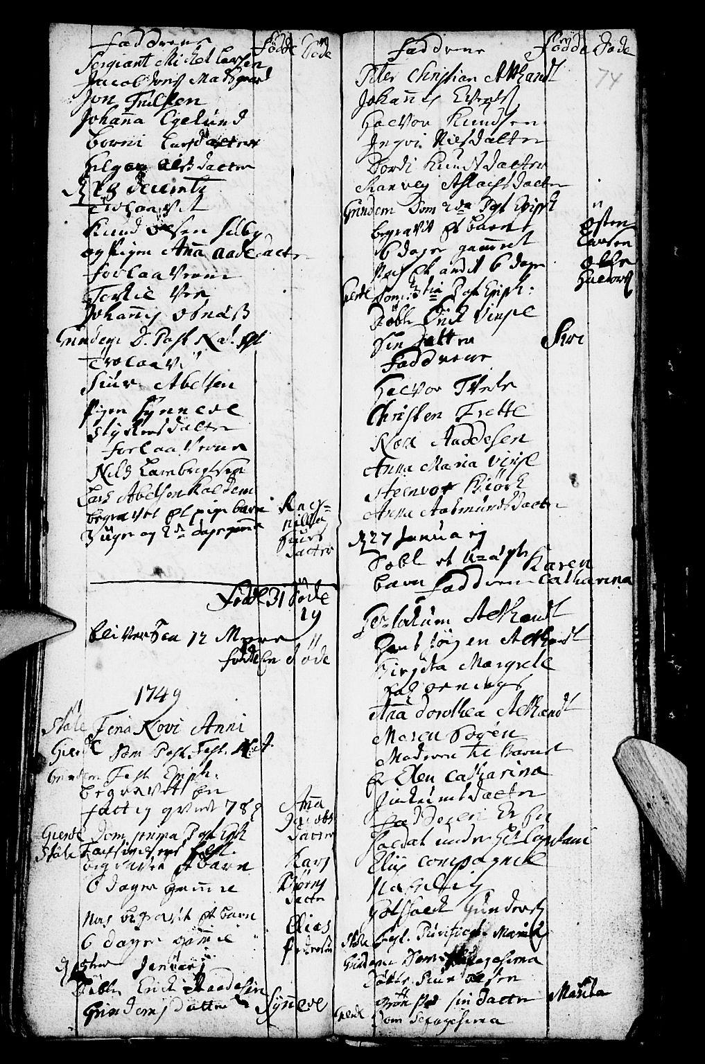 SAB, Etne Sokneprestembete, H/Haa: Ministerialbok nr. A 2, 1725-1755, s. 74