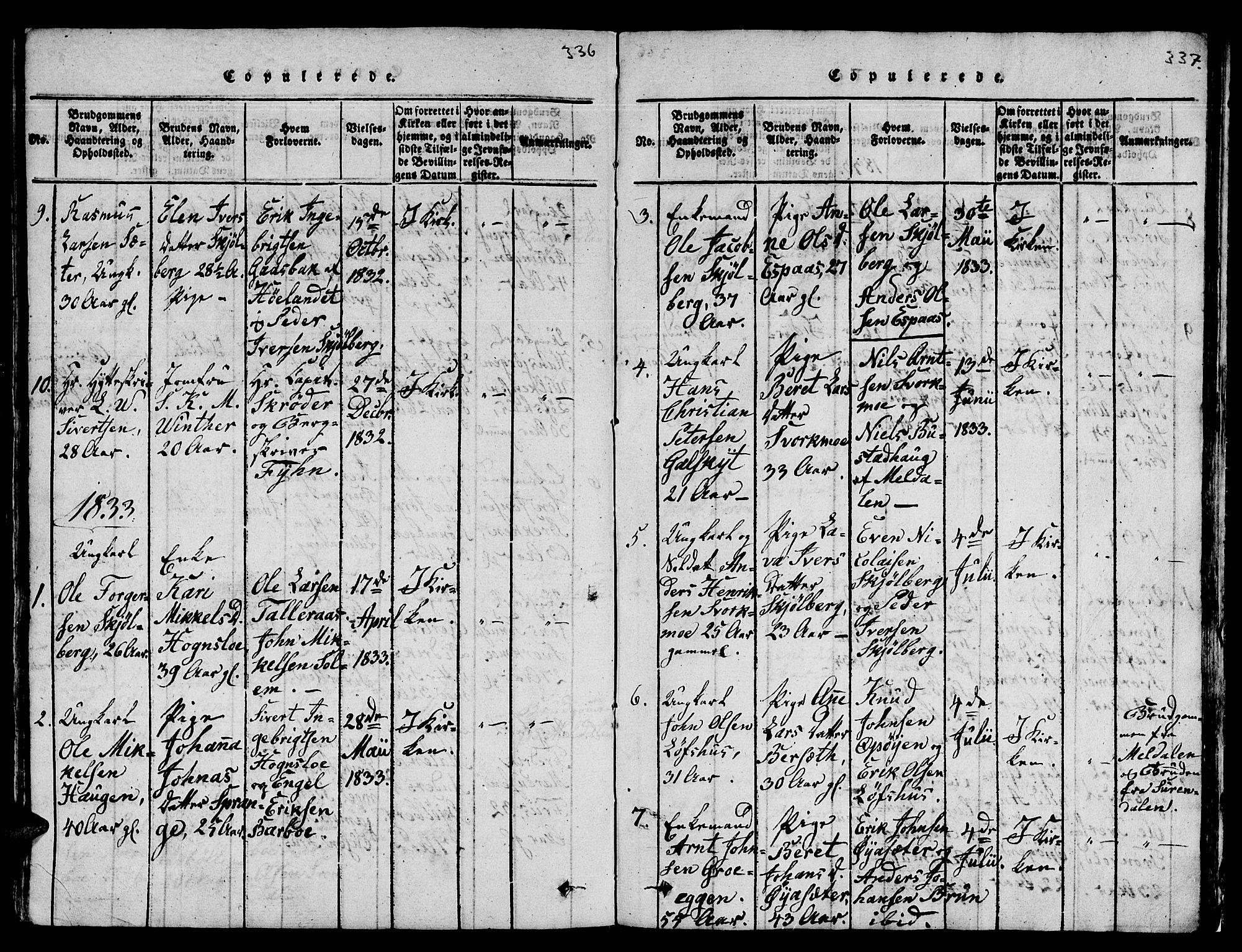 SAT, Ministerialprotokoller, klokkerbøker og fødselsregistre - Sør-Trøndelag, 671/L0842: Klokkerbok nr. 671C01, 1816-1867, s. 336-337