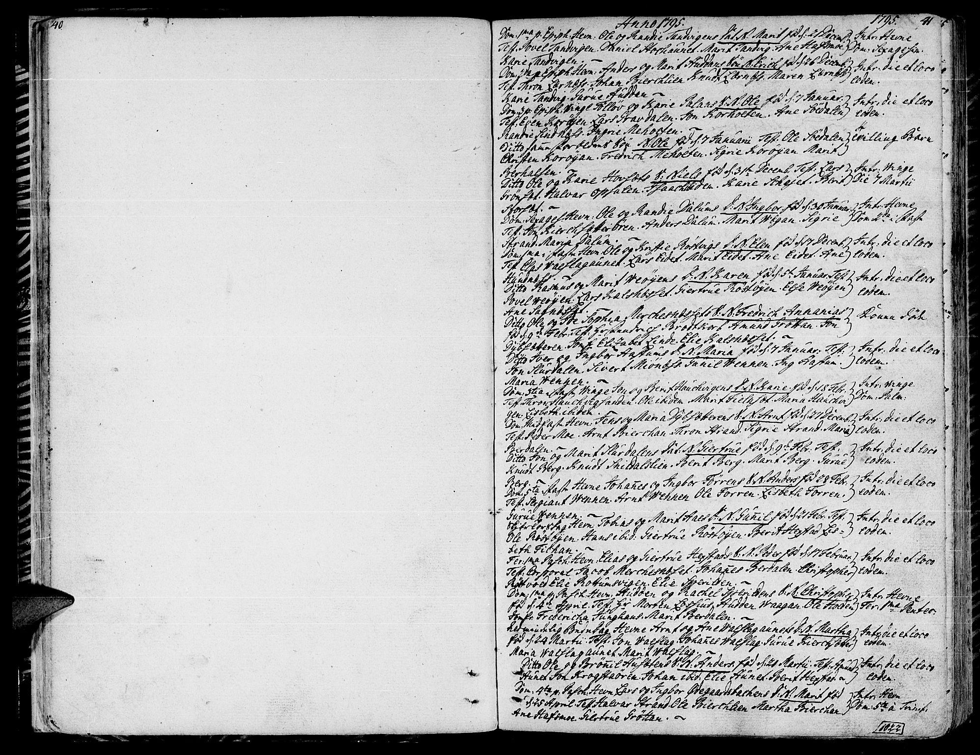 SAT, Ministerialprotokoller, klokkerbøker og fødselsregistre - Sør-Trøndelag, 630/L0490: Ministerialbok nr. 630A03, 1795-1818, s. 40-41