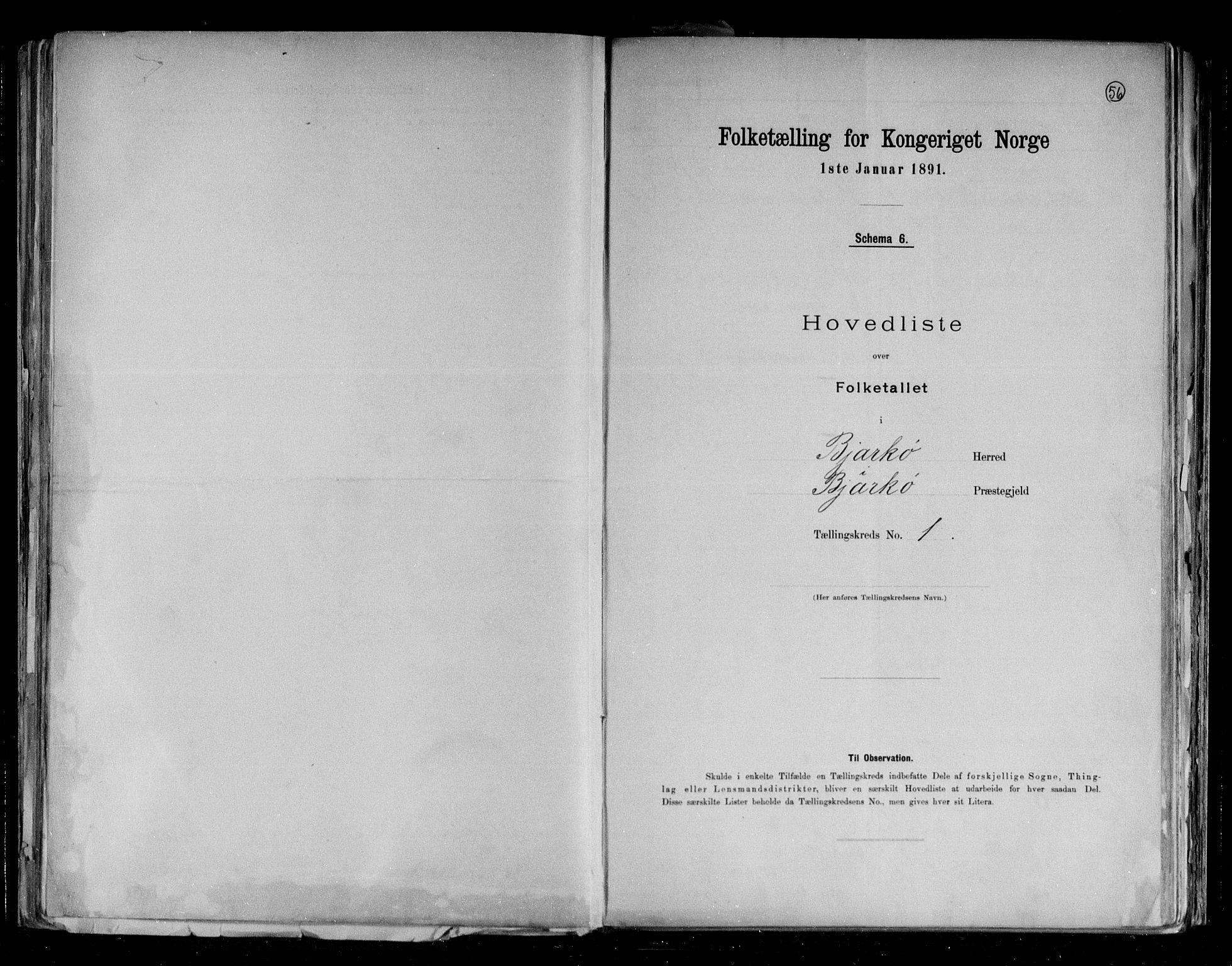 RA, Folketelling 1891 for 1915 Bjarkøy herred, 1891, s. 4