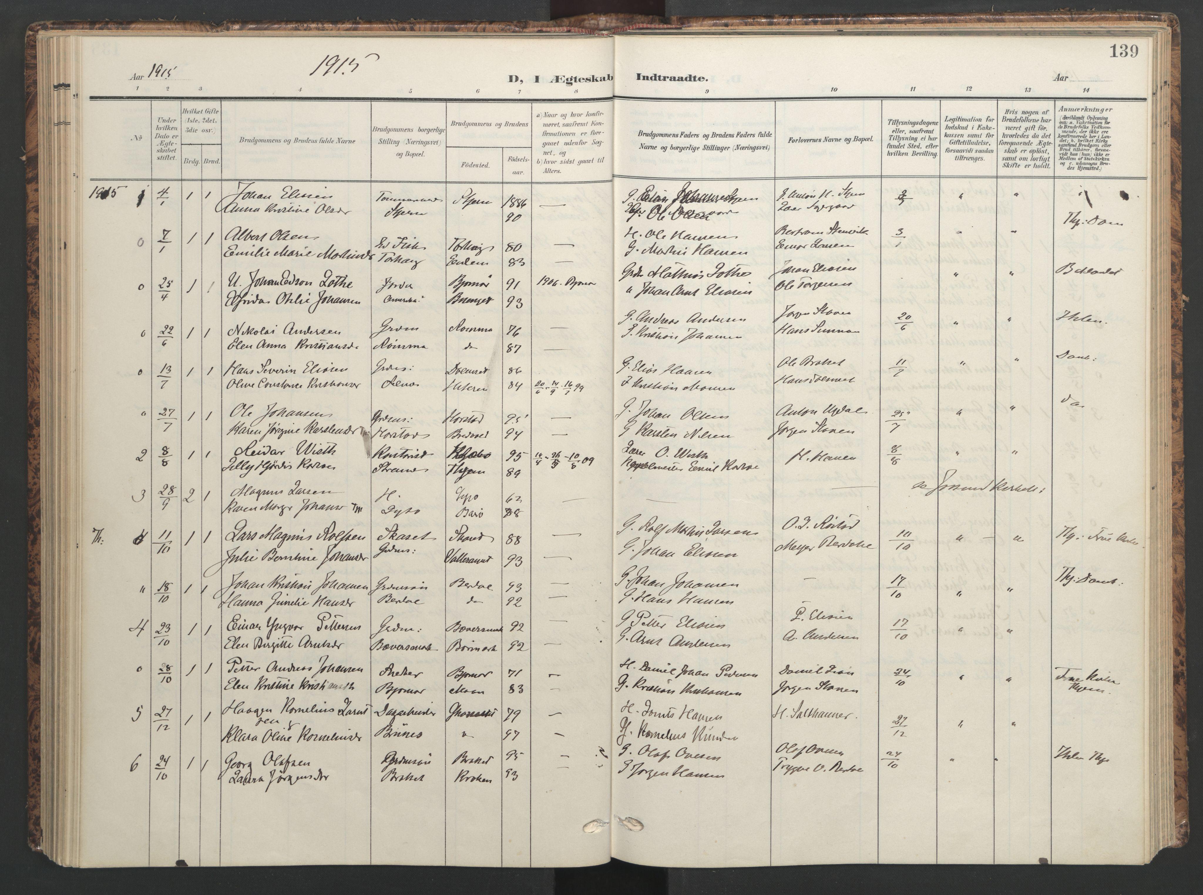 SAT, Ministerialprotokoller, klokkerbøker og fødselsregistre - Sør-Trøndelag, 655/L0682: Ministerialbok nr. 655A11, 1908-1922, s. 139