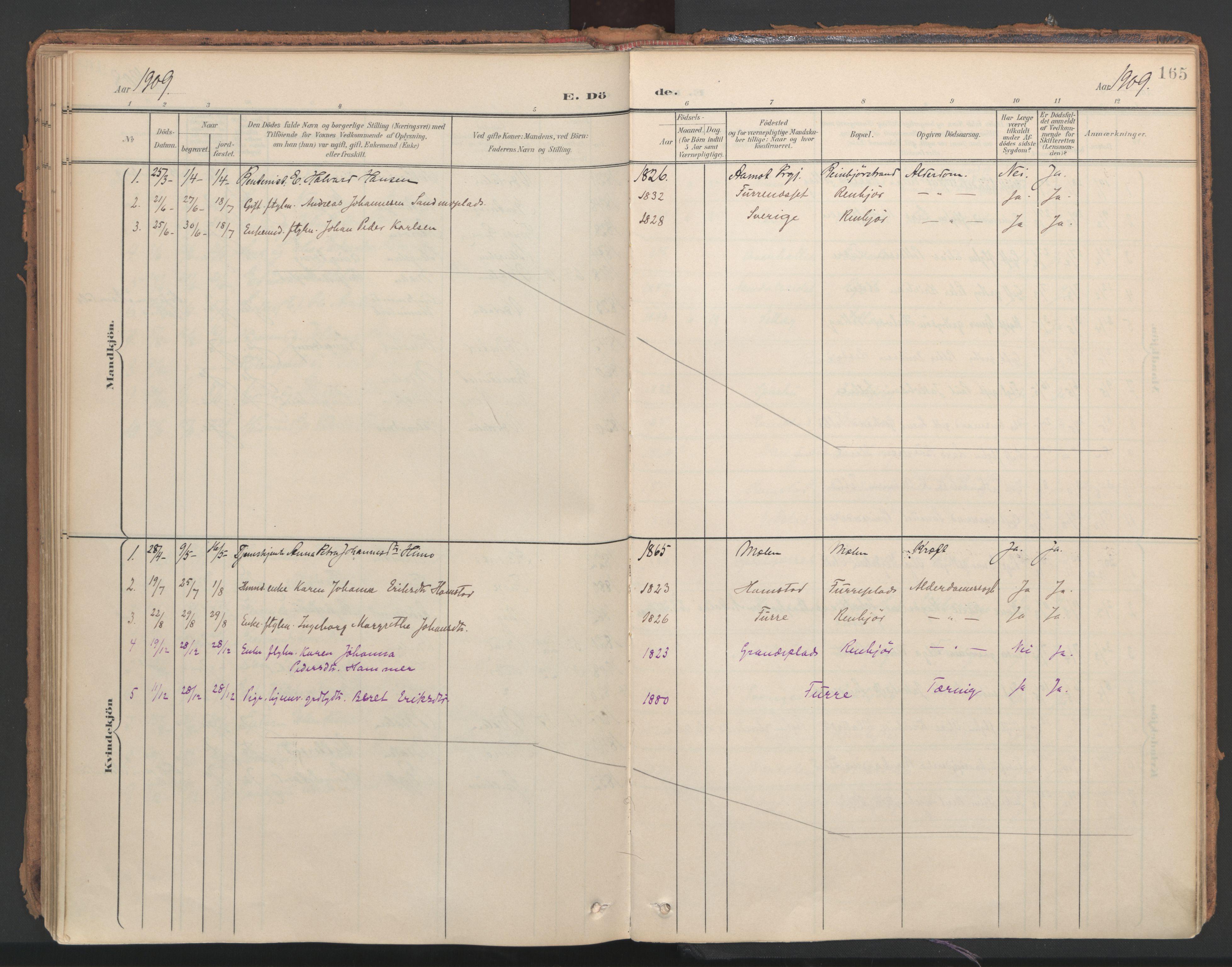 SAT, Ministerialprotokoller, klokkerbøker og fødselsregistre - Nord-Trøndelag, 766/L0564: Ministerialbok nr. 767A02, 1900-1932, s. 165