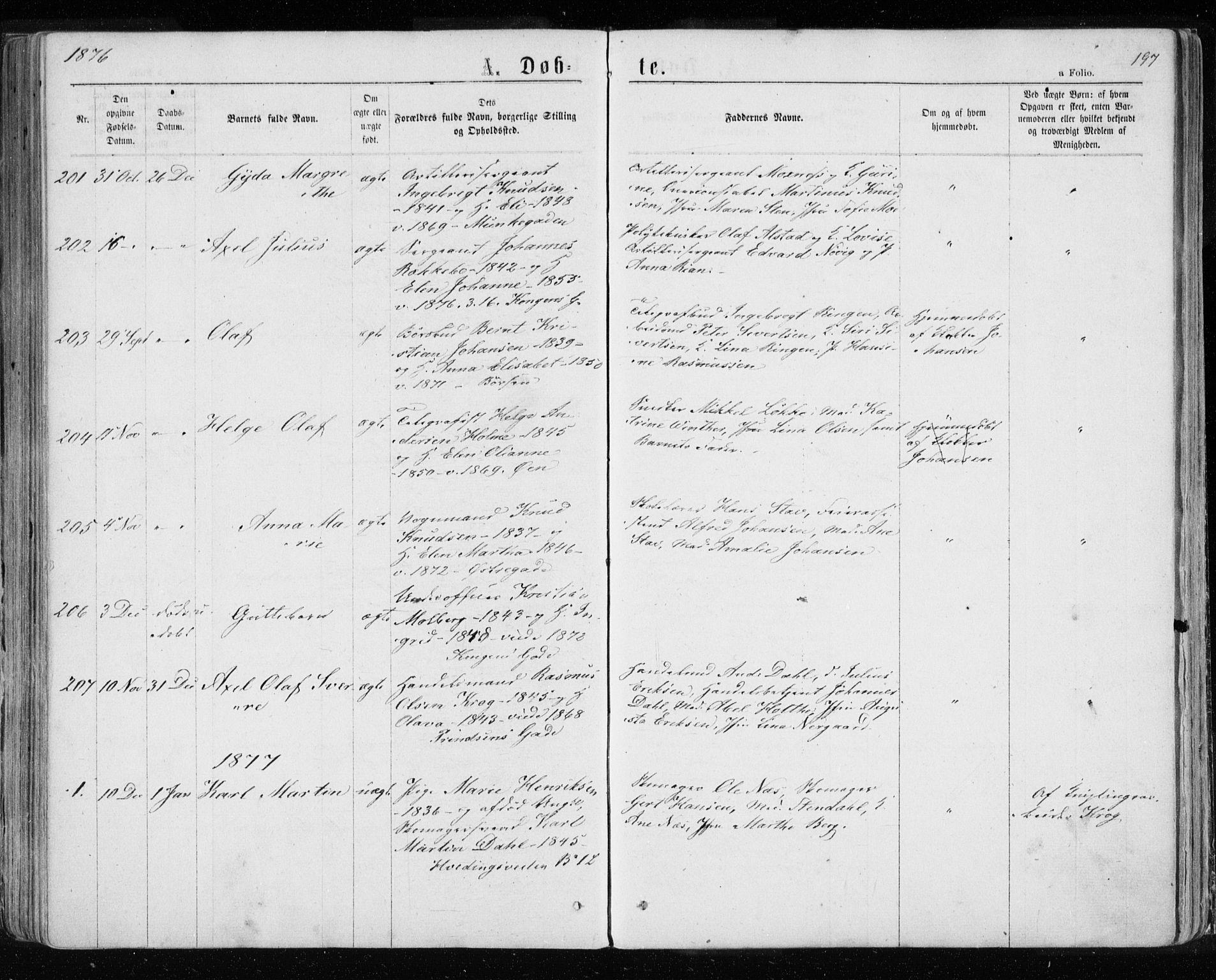 SAT, Ministerialprotokoller, klokkerbøker og fødselsregistre - Sør-Trøndelag, 601/L0054: Ministerialbok nr. 601A22, 1866-1877, s. 197