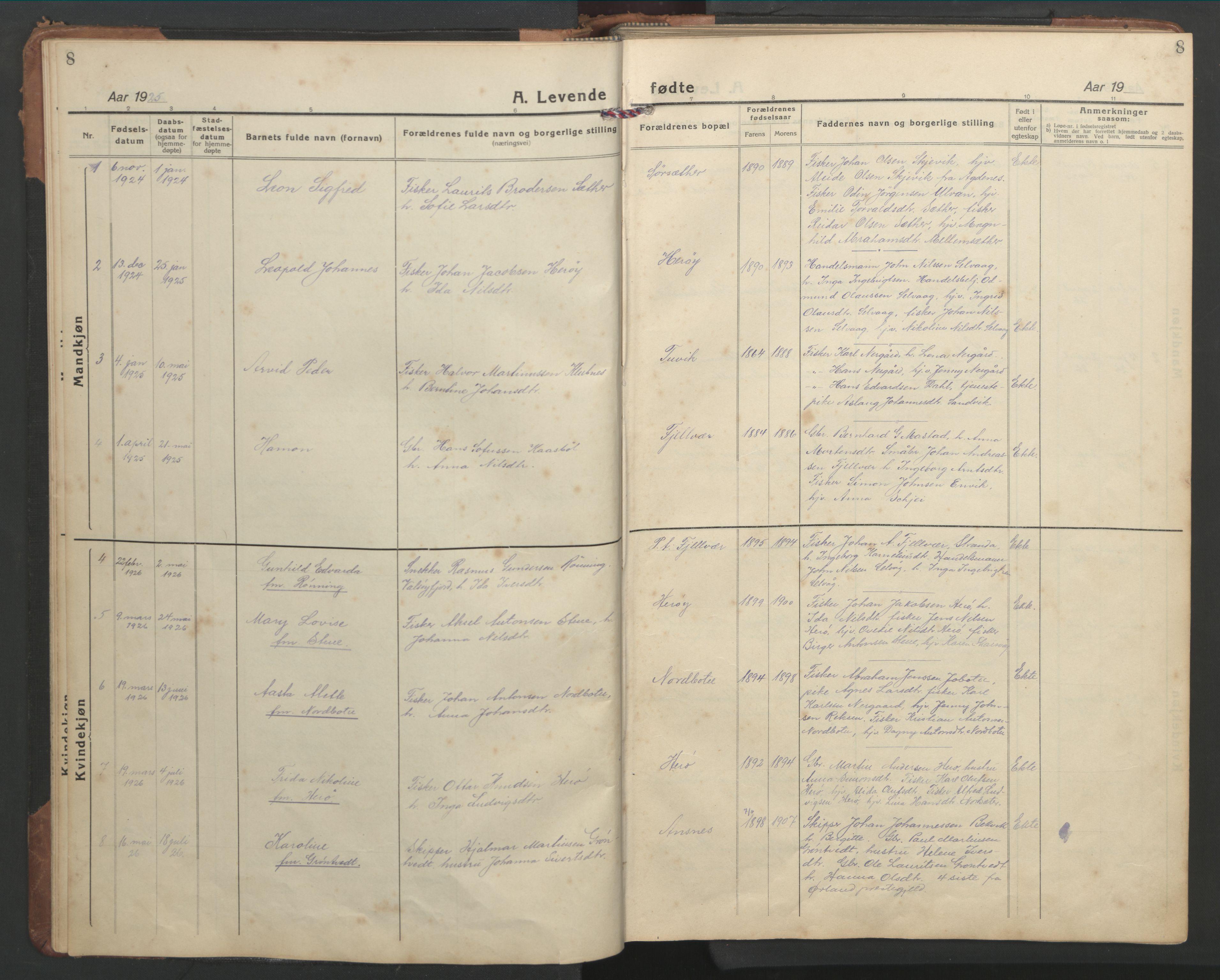 SAT, Ministerialprotokoller, klokkerbøker og fødselsregistre - Sør-Trøndelag, 638/L0569: Klokkerbok nr. 638C01, 1923-1961, s. 8