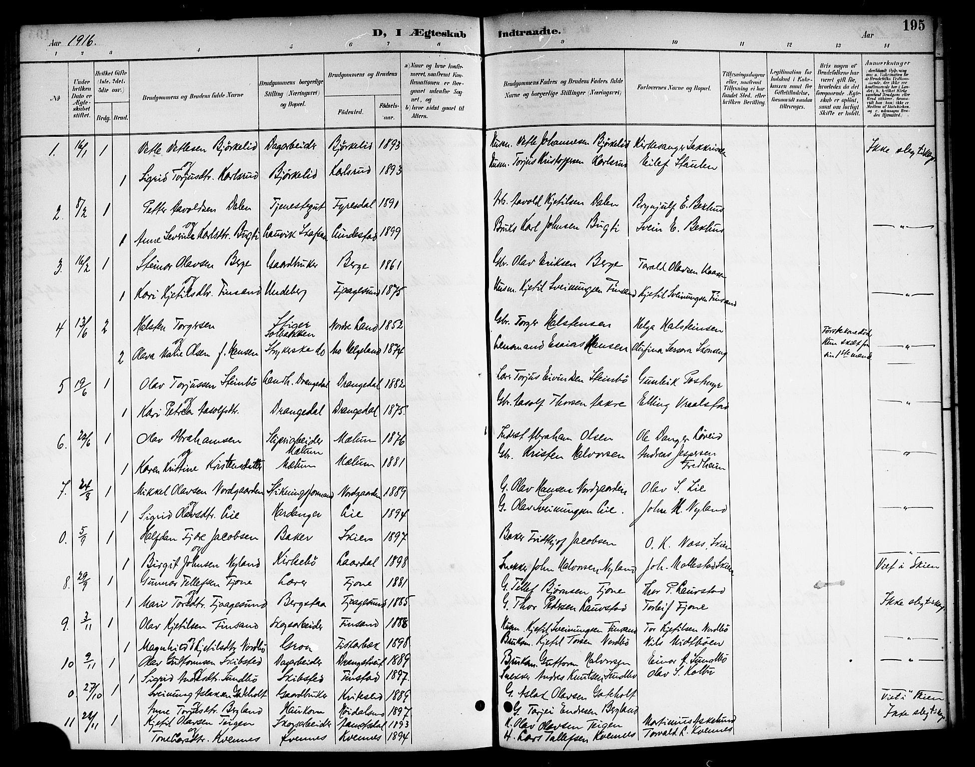 SAKO, Kviteseid kirkebøker, G/Ga/L0002: Klokkerbok nr. I 2, 1893-1918, s. 195
