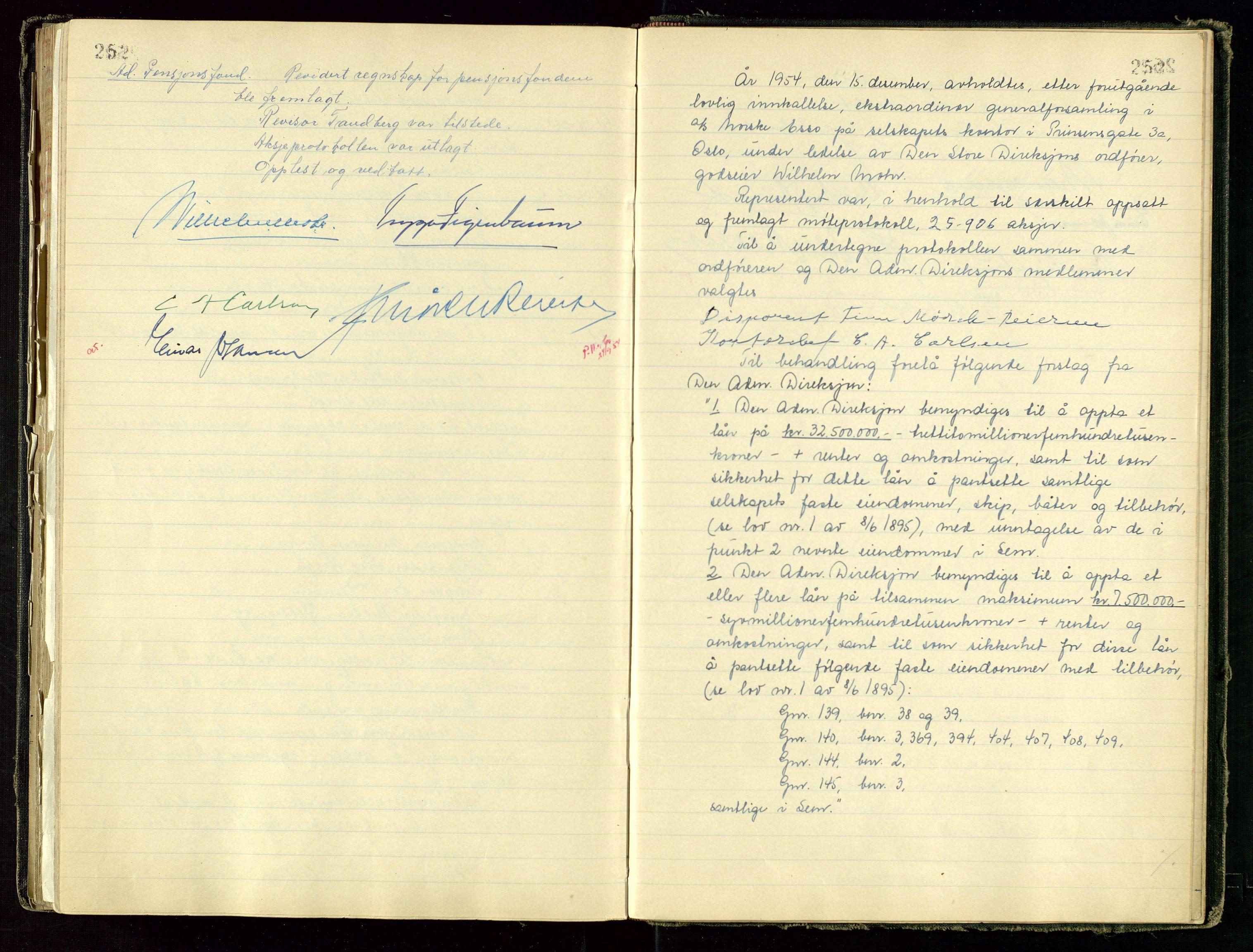 SAST, PA 1534 - Østlandske Petroleumscompagni A/S, A/Aa/L0001: Generalforsamlinger og direksjonsprotokoller., 1892-1960, s. 252-253