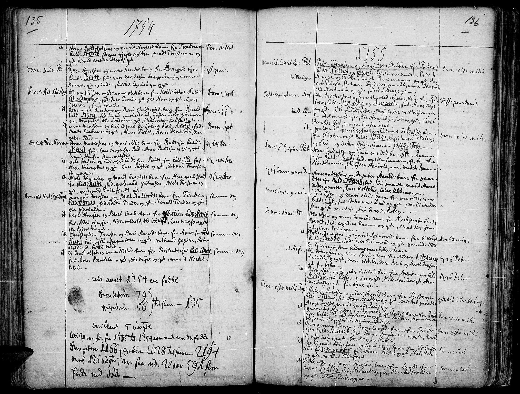SAH, Land prestekontor, Ministerialbok nr. 2, 1733-1764, s. 135-136