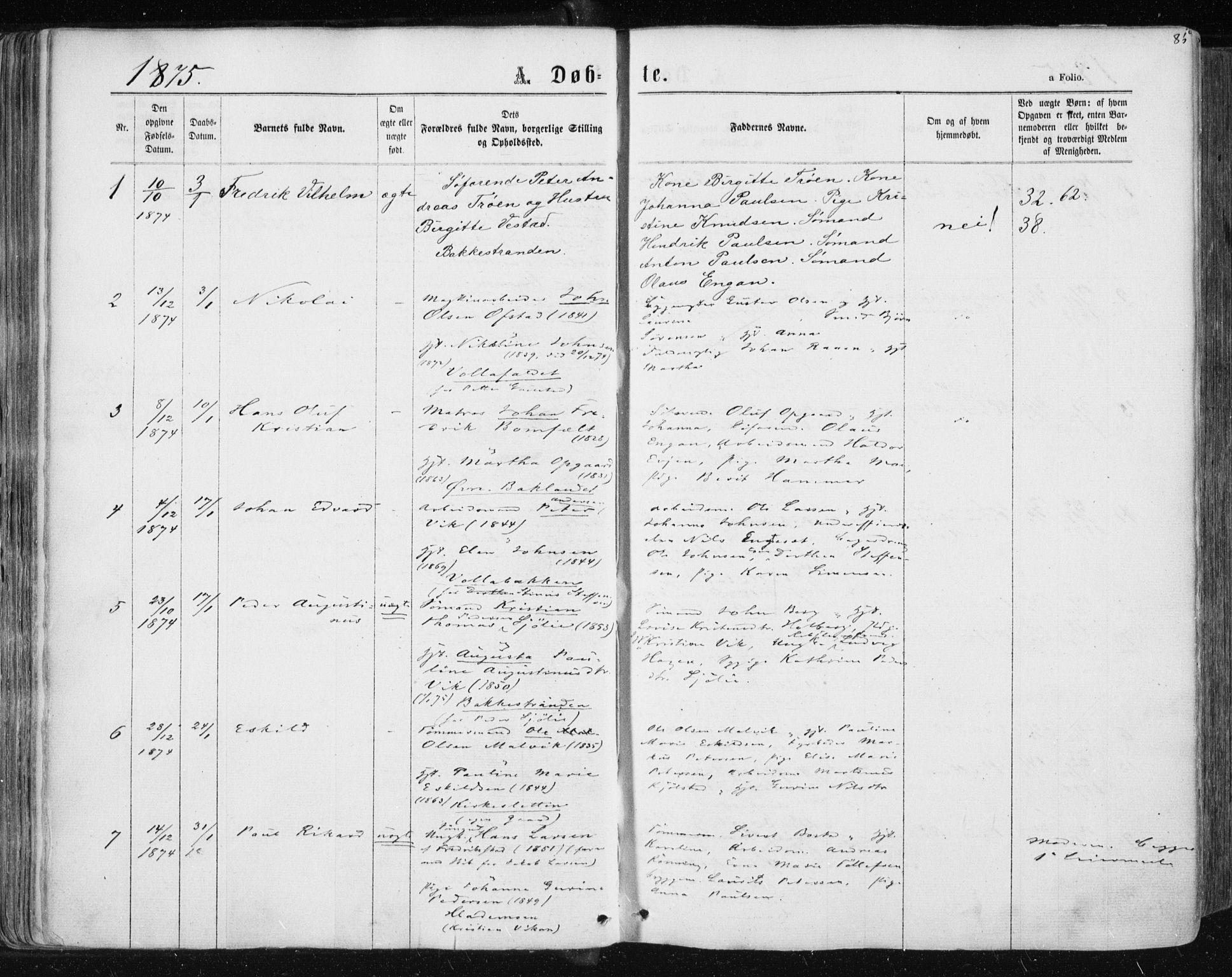 SAT, Ministerialprotokoller, klokkerbøker og fødselsregistre - Sør-Trøndelag, 604/L0186: Ministerialbok nr. 604A07, 1866-1877, s. 85