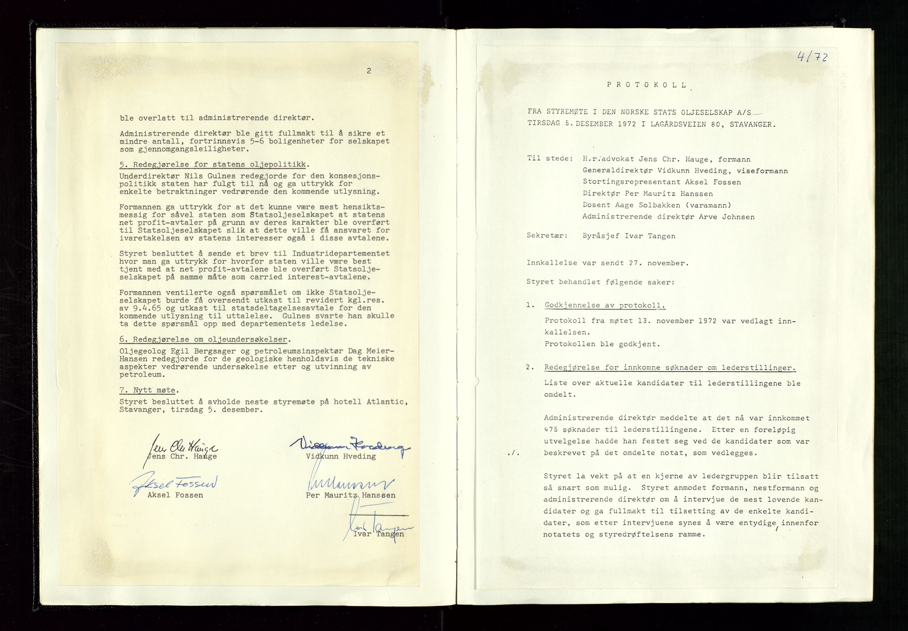 SAST, Pa 1339 - Statoil ASA, A/Ab/Aba/L0001: Styremøteprotokoller, 05.10.1972 til 14.12.1978, 1972-1978, s. 13