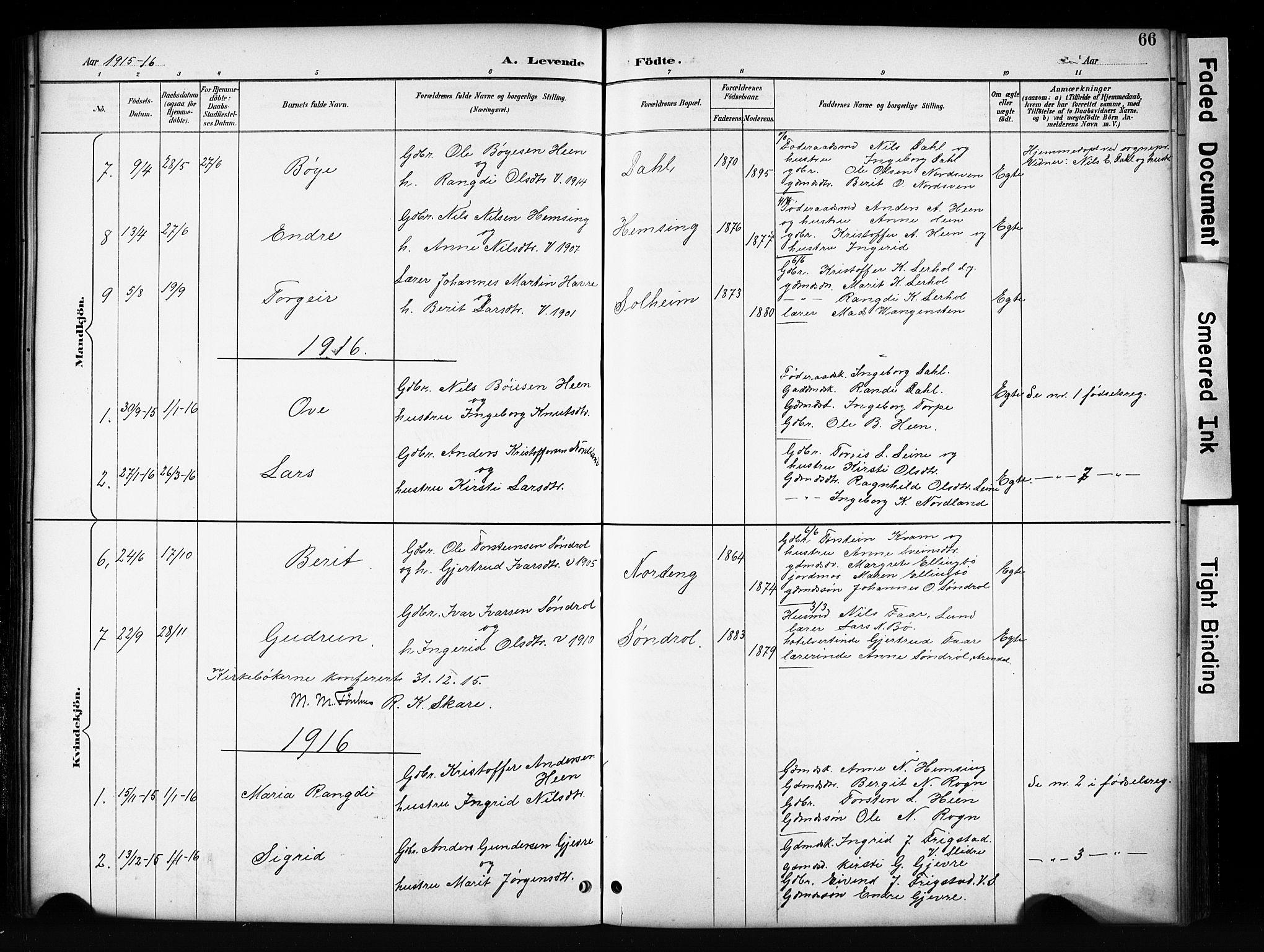 SAH, Vang prestekontor, Valdres, Klokkerbok nr. 6, 1893-1918, s. 66