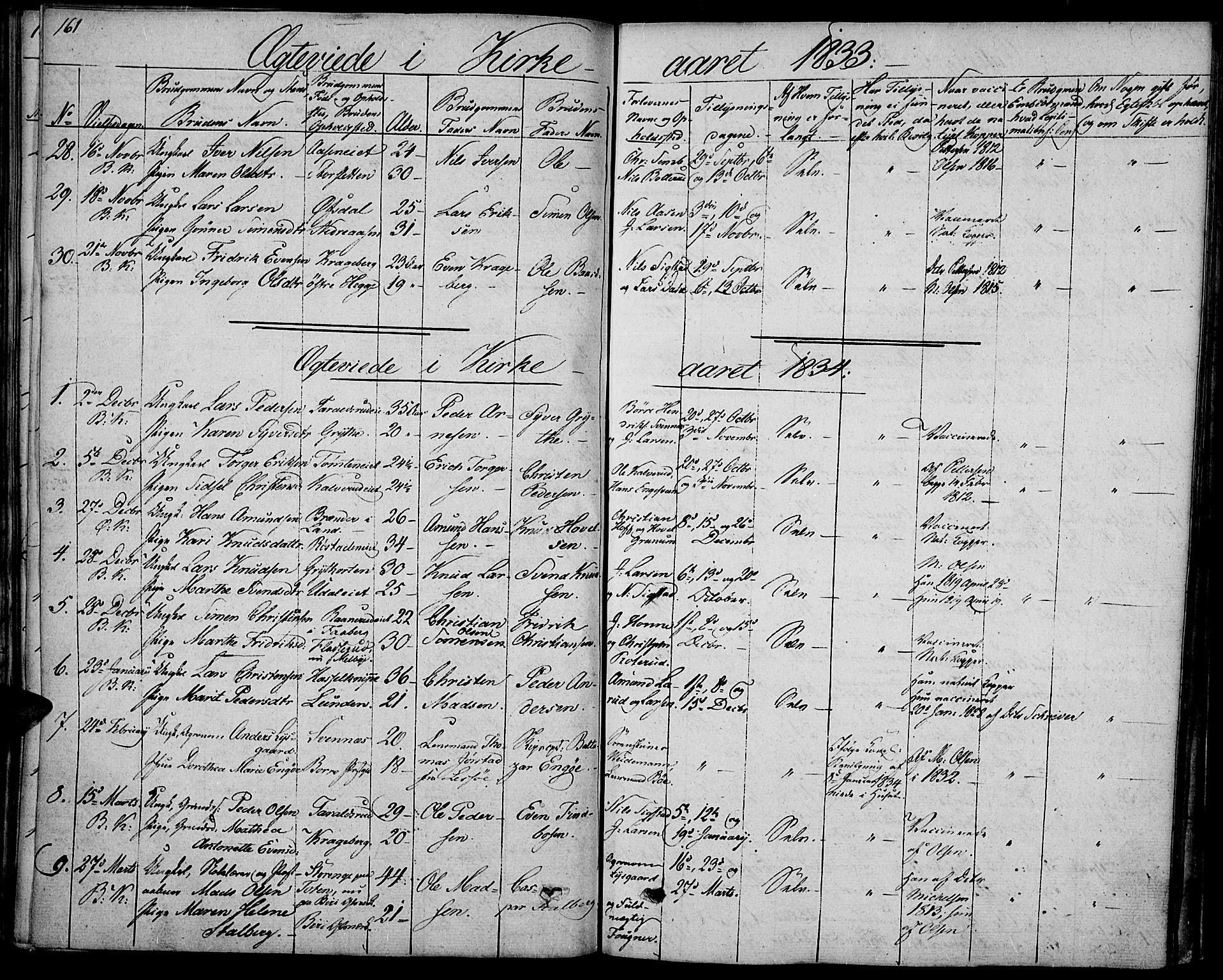 SAH, Biri prestekontor, Ministerialbok nr. 4, 1829-1842, s. 161