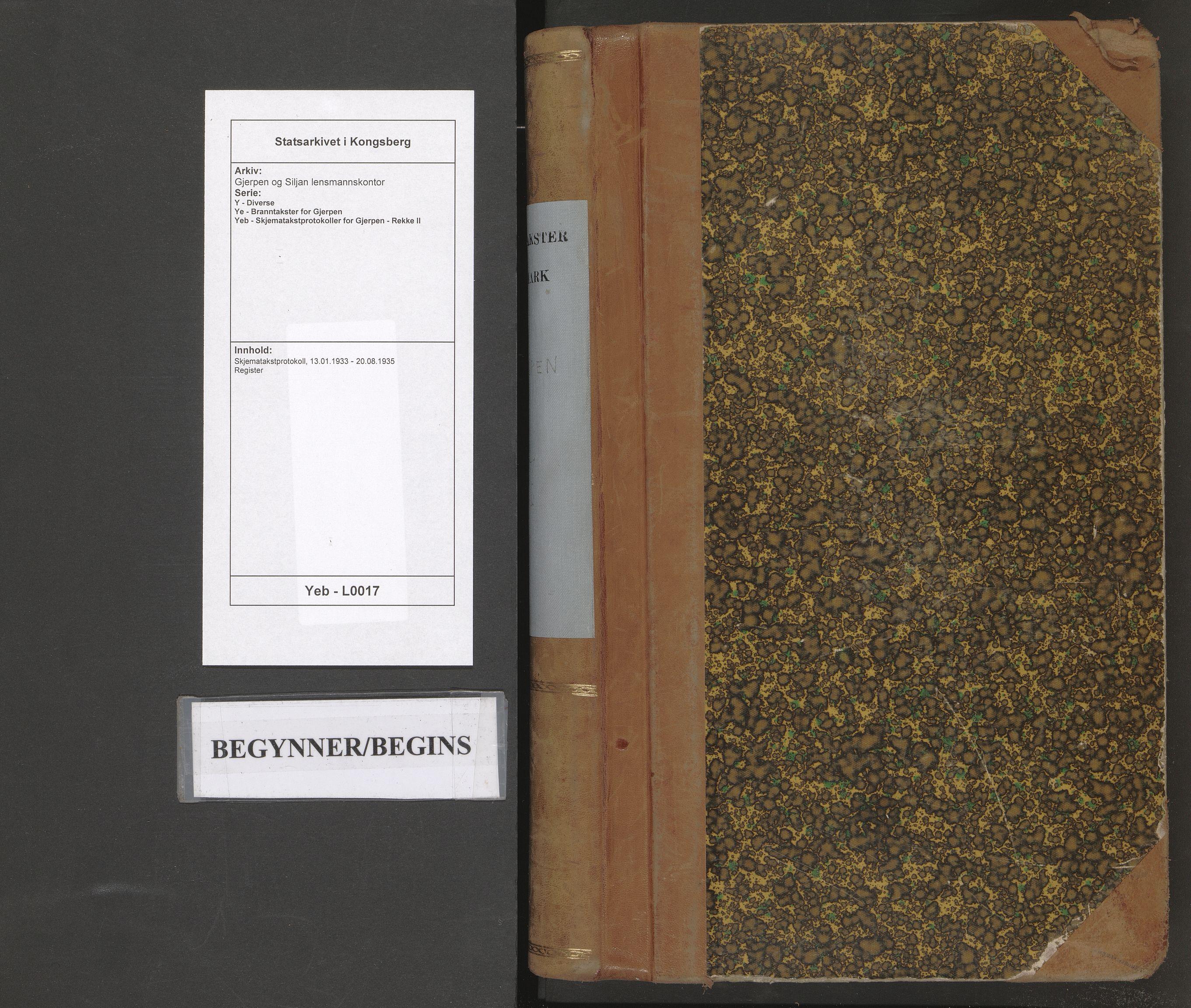 SAKO, Gjerpen og Siljan lensmannskontor, Y/Ye/Yeb/L0017: Skjematakstprotokoll, 1933-1935