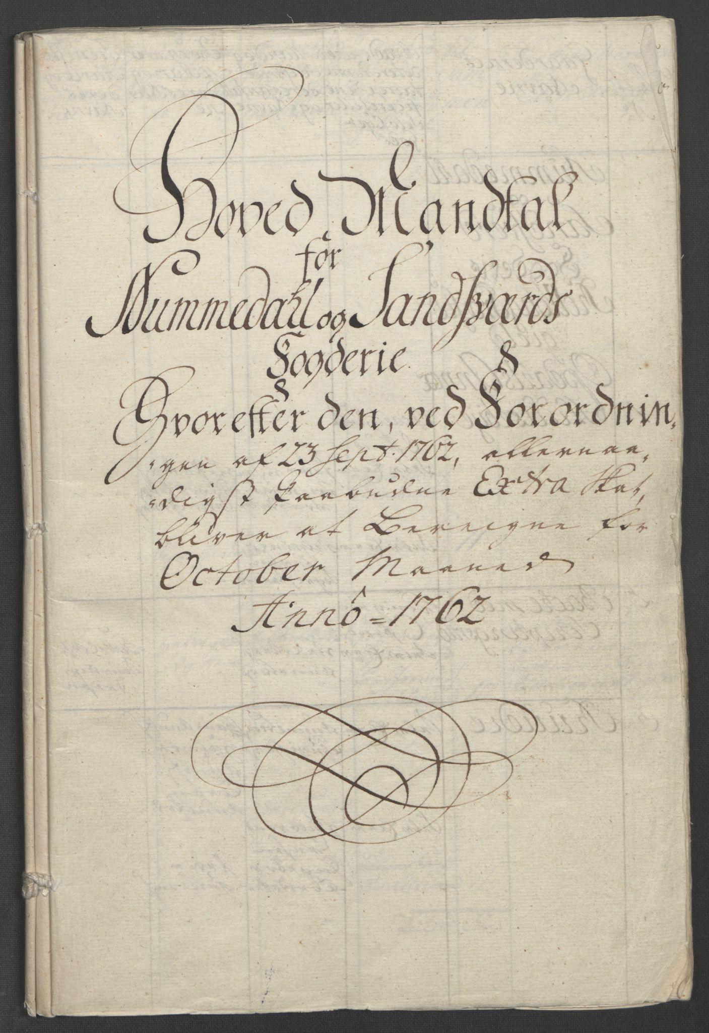 RA, Rentekammeret inntil 1814, Reviderte regnskaper, Fogderegnskap, R24/L1672: Ekstraskatten Numedal og Sandsvær, 1762-1767, s. 12