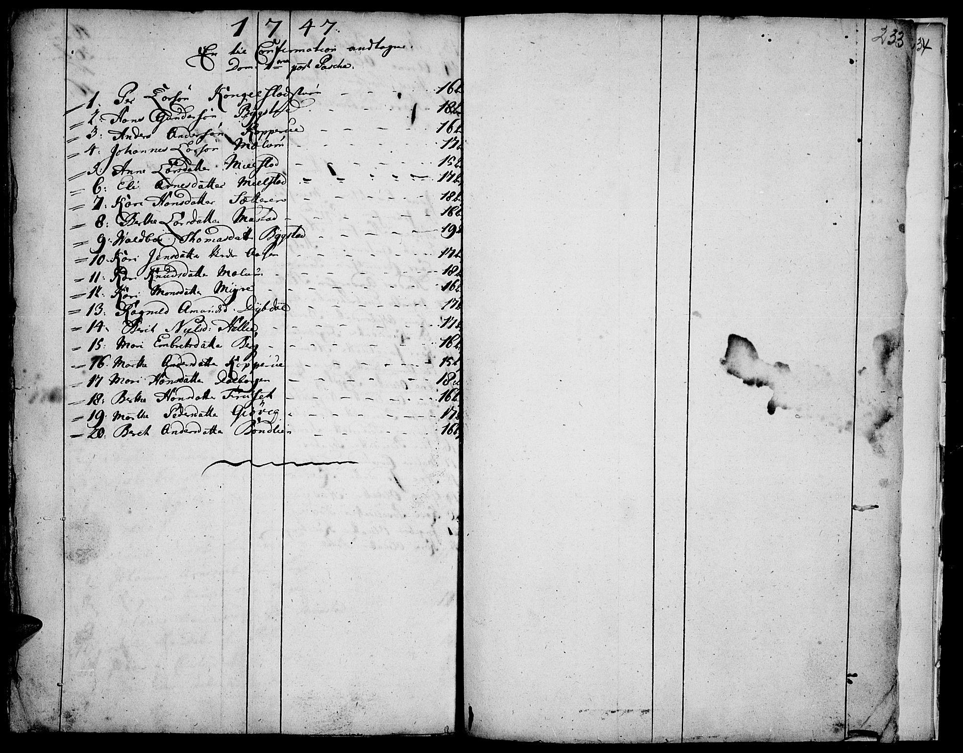 SAH, Vardal prestekontor, H/Ha/Haa/L0001: Ministerialbok nr. 1, 1706-1748, s. 233
