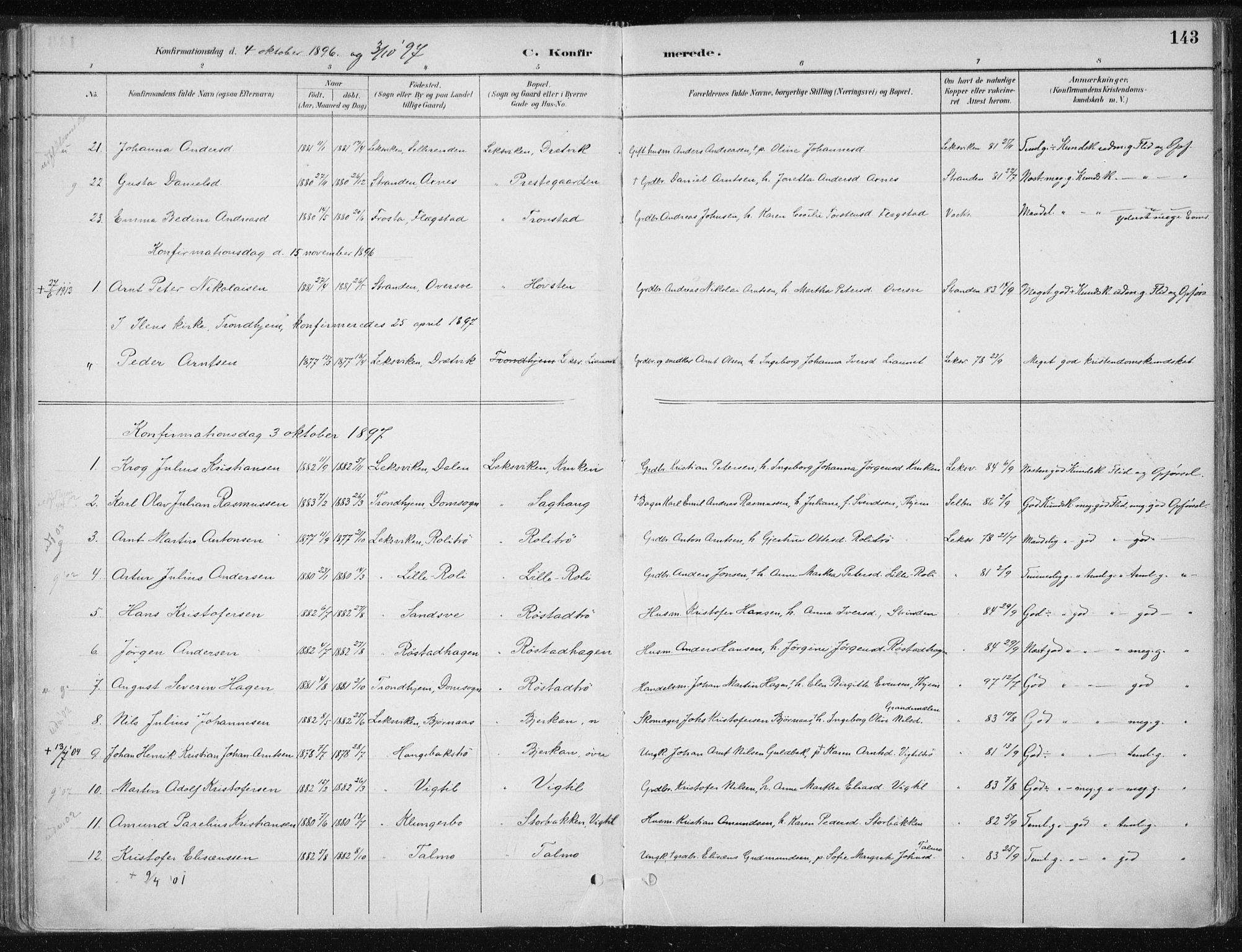 SAT, Ministerialprotokoller, klokkerbøker og fødselsregistre - Nord-Trøndelag, 701/L0010: Ministerialbok nr. 701A10, 1883-1899, s. 143