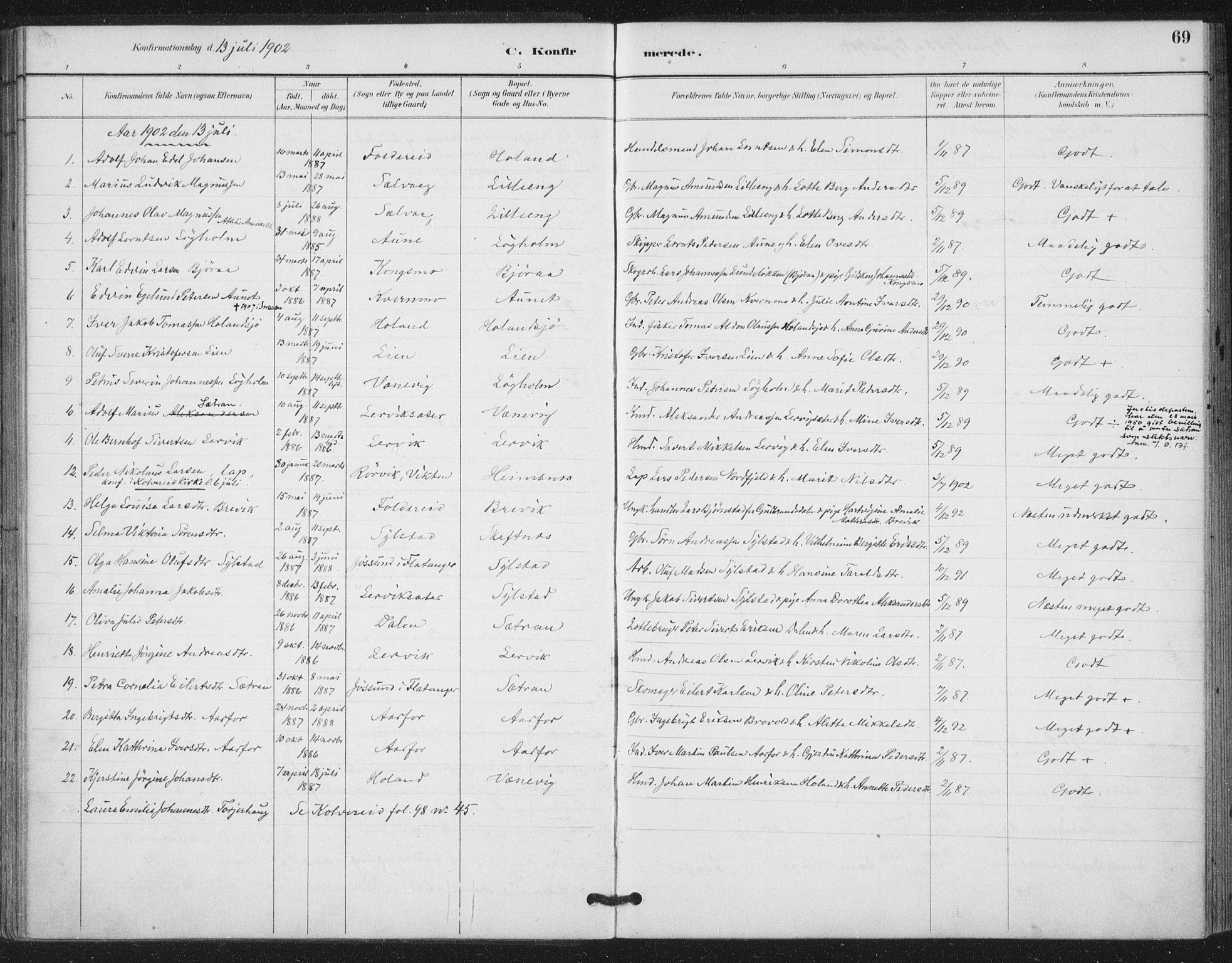 SAT, Ministerialprotokoller, klokkerbøker og fødselsregistre - Nord-Trøndelag, 783/L0660: Ministerialbok nr. 783A02, 1886-1918, s. 69