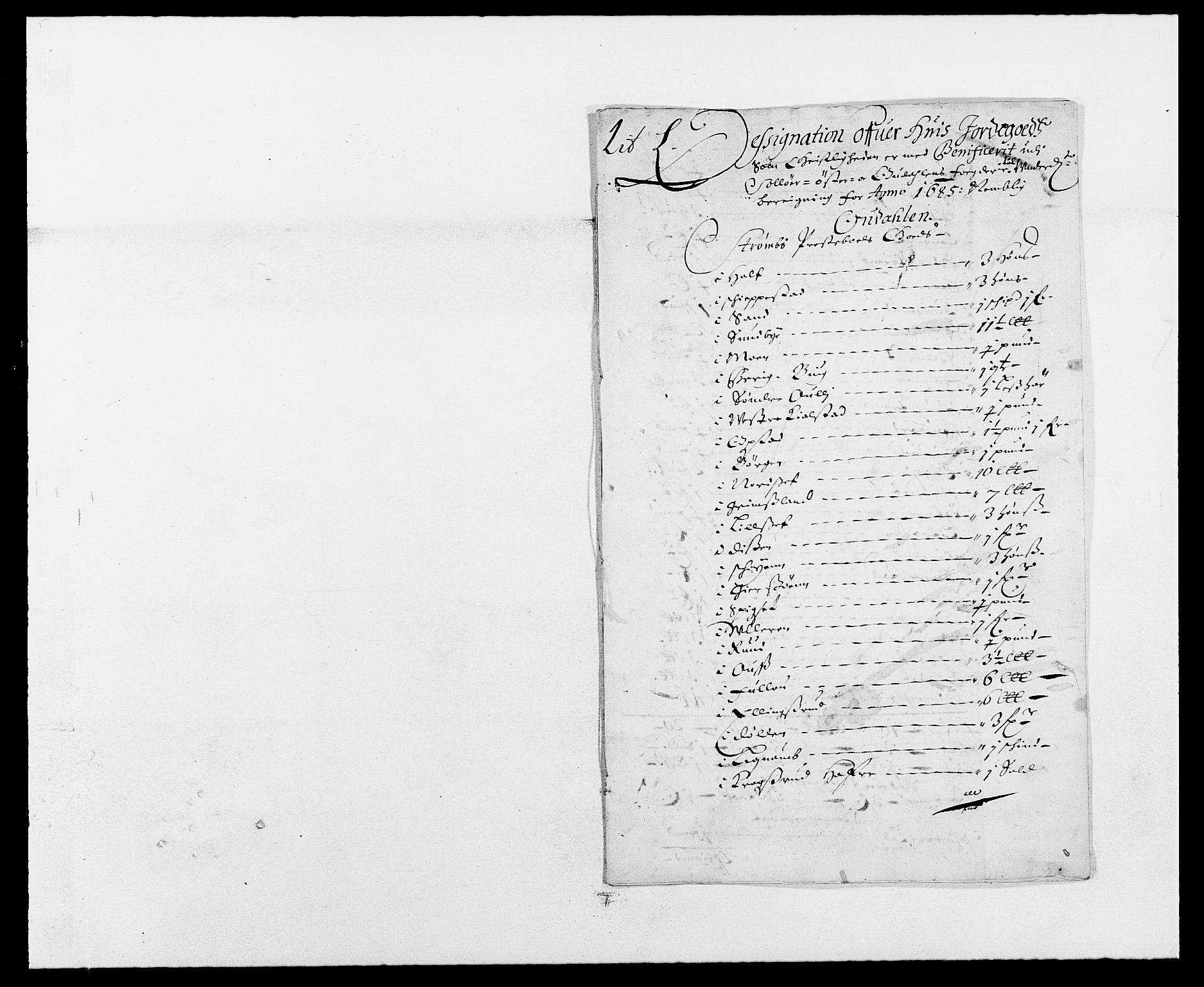 RA, Rentekammeret inntil 1814, Reviderte regnskaper, Fogderegnskap, R13/L0822: Fogderegnskap Solør, Odal og Østerdal, 1685, s. 232