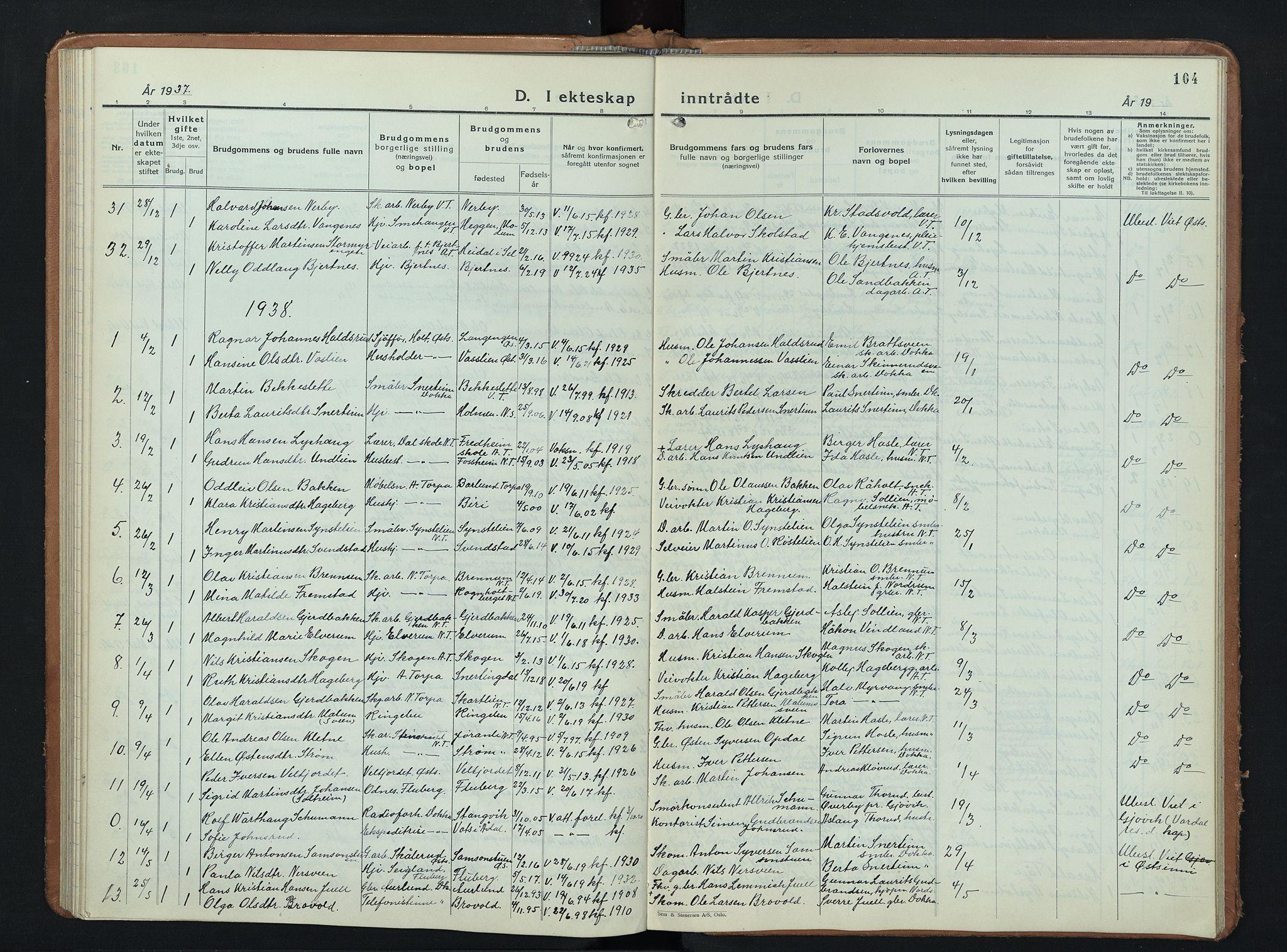 SAH, Nordre Land prestekontor, Klokkerbok nr. 3, 1932-1946, s. 104