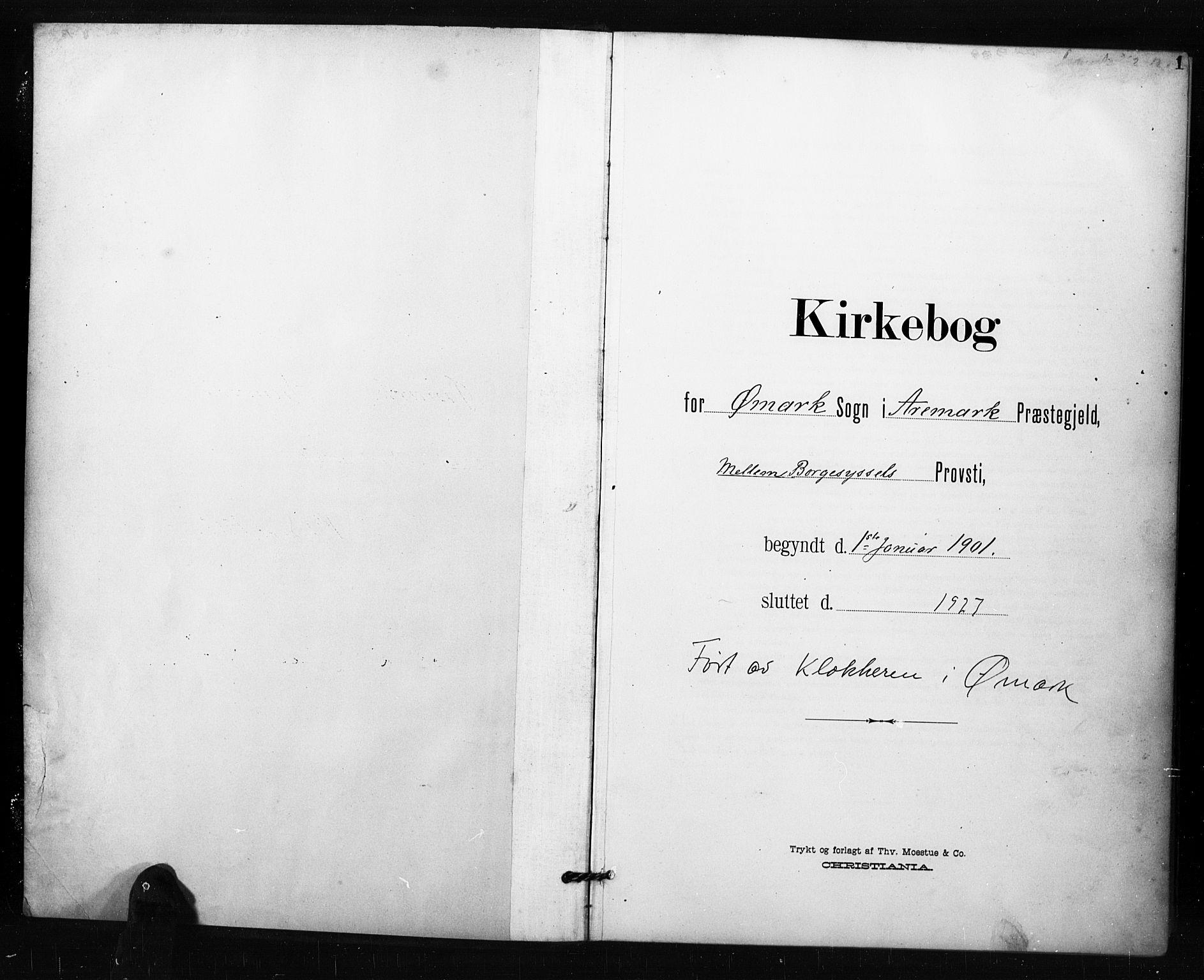 SAO, Aremark prestekontor Kirkebøker, G/Gb/L0001: Klokkerbok nr. II 1, 1901-1927, s. 1