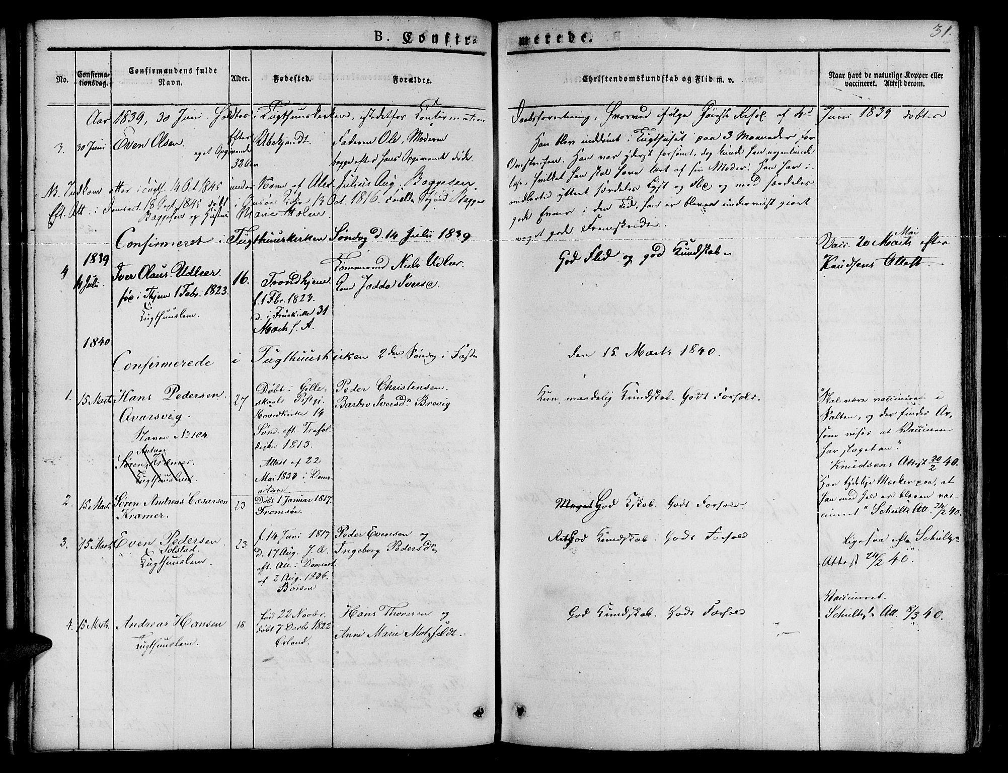 SAT, Ministerialprotokoller, klokkerbøker og fødselsregistre - Sør-Trøndelag, 623/L0468: Ministerialbok nr. 623A02, 1826-1867, s. 31