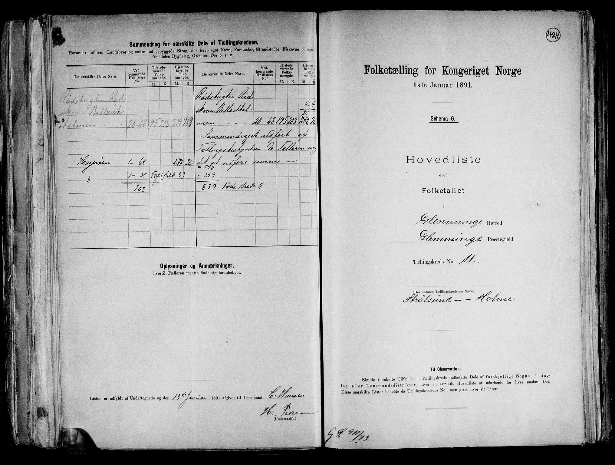 RA, Folketelling 1891 for 0132 Glemmen herred, 1891, s. 36