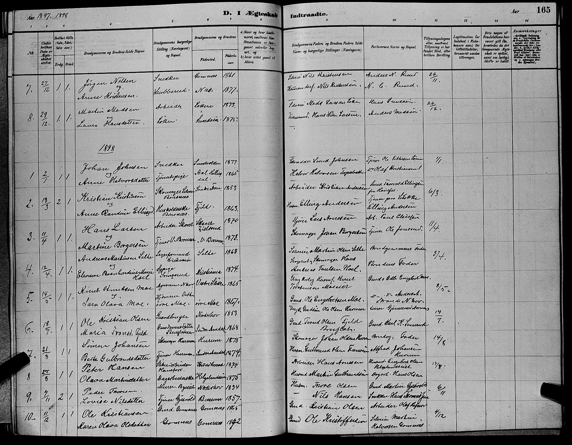 SAKO, Hole kirkebøker, G/Ga/L0003: Klokkerbok nr. I 3, 1879-1904, s. 165