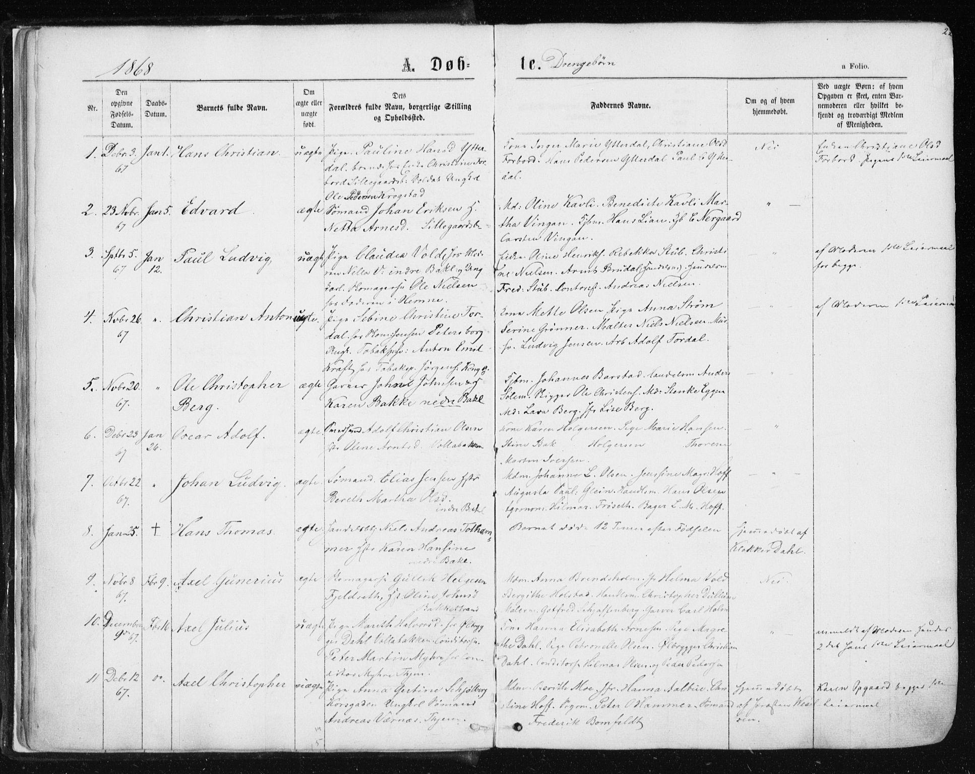 SAT, Ministerialprotokoller, klokkerbøker og fødselsregistre - Sør-Trøndelag, 604/L0186: Ministerialbok nr. 604A07, 1866-1877, s. 22