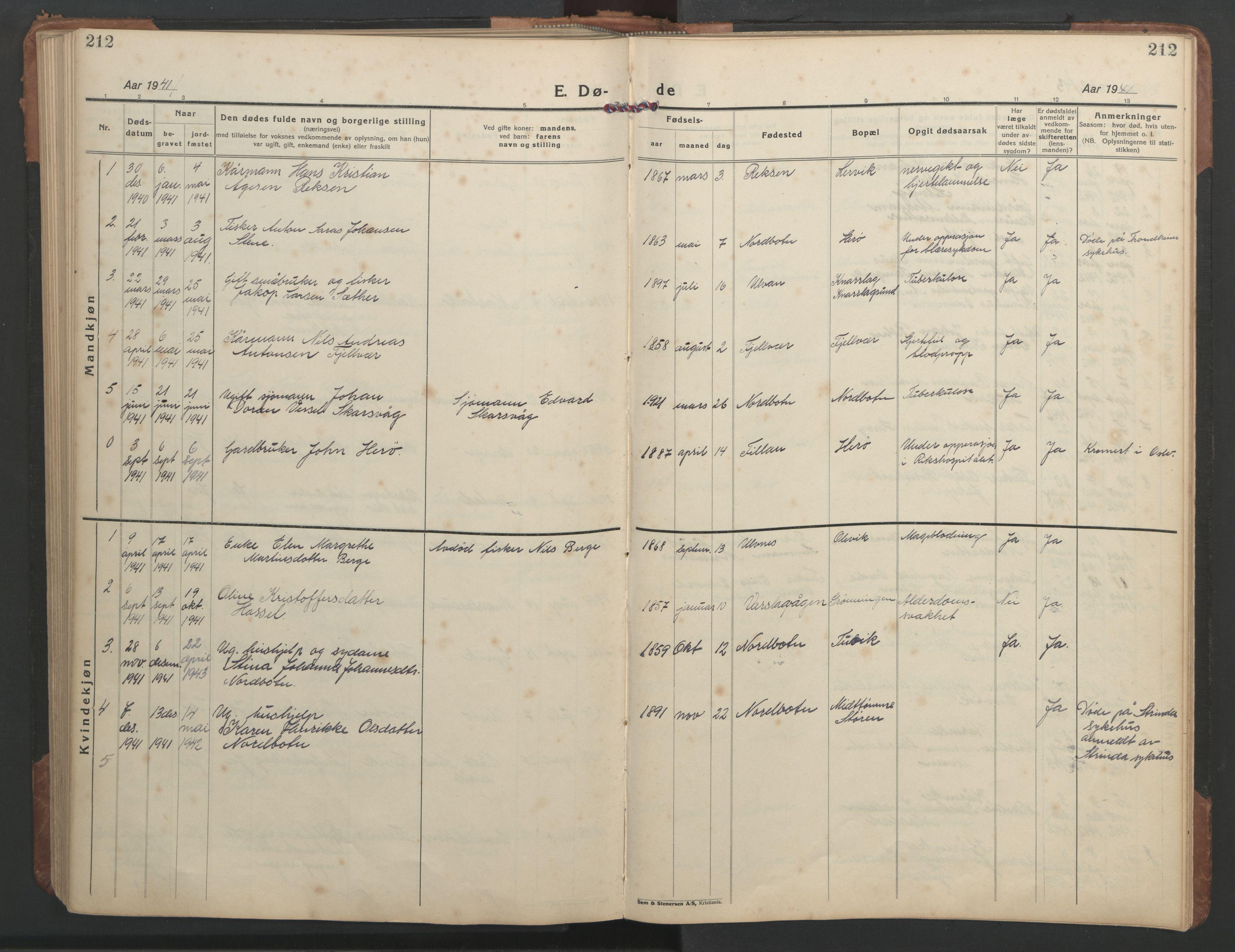 SAT, Ministerialprotokoller, klokkerbøker og fødselsregistre - Sør-Trøndelag, 638/L0569: Klokkerbok nr. 638C01, 1923-1961, s. 212