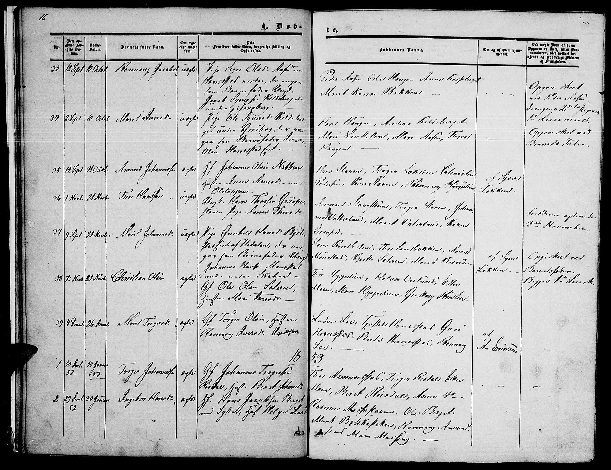 SAH, Nord-Fron prestekontor, Klokkerbok nr. 2, 1851-1883, s. 16