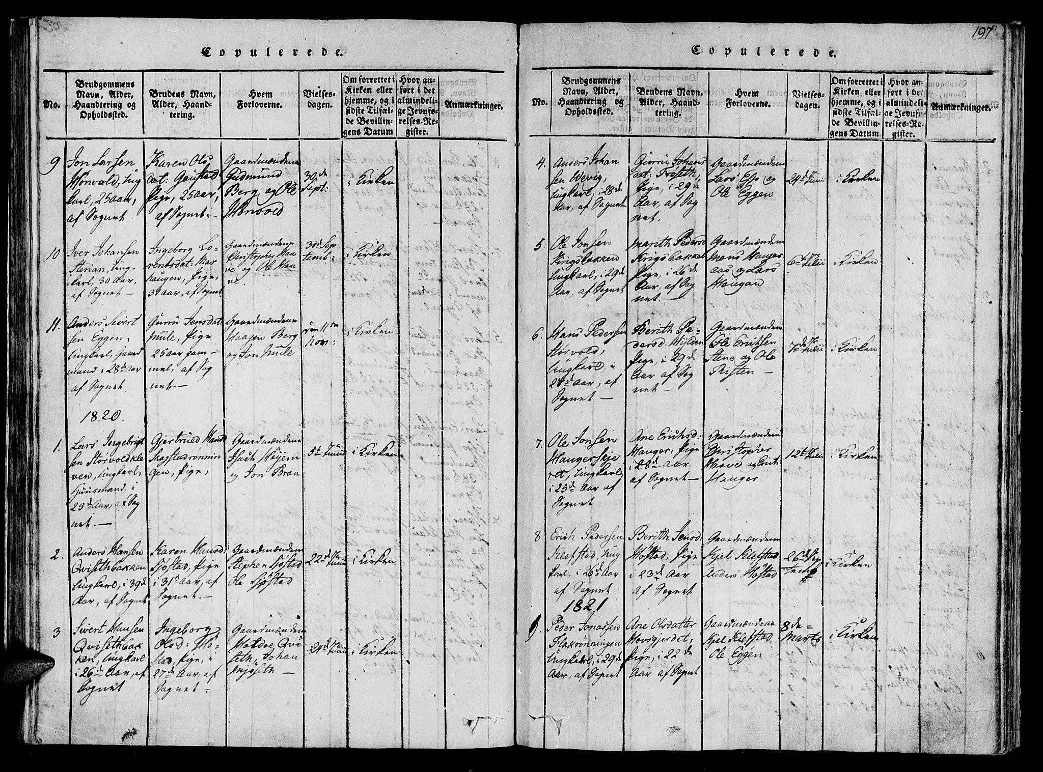 SAT, Ministerialprotokoller, klokkerbøker og fødselsregistre - Sør-Trøndelag, 612/L0372: Ministerialbok nr. 612A06 /1, 1816-1828, s. 197