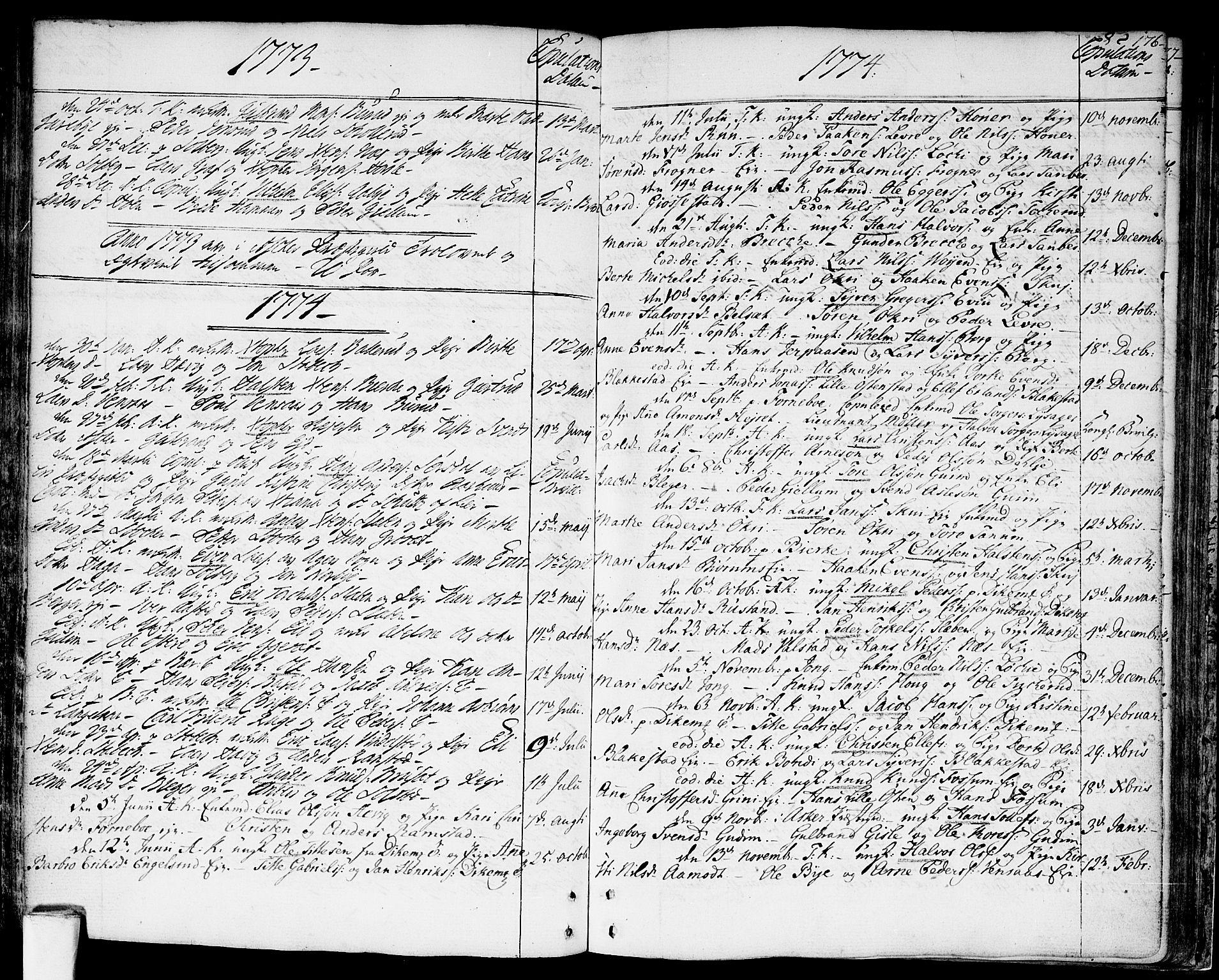 SAO, Asker prestekontor Kirkebøker, F/Fa/L0003: Ministerialbok nr. I 3, 1767-1807, s. 176