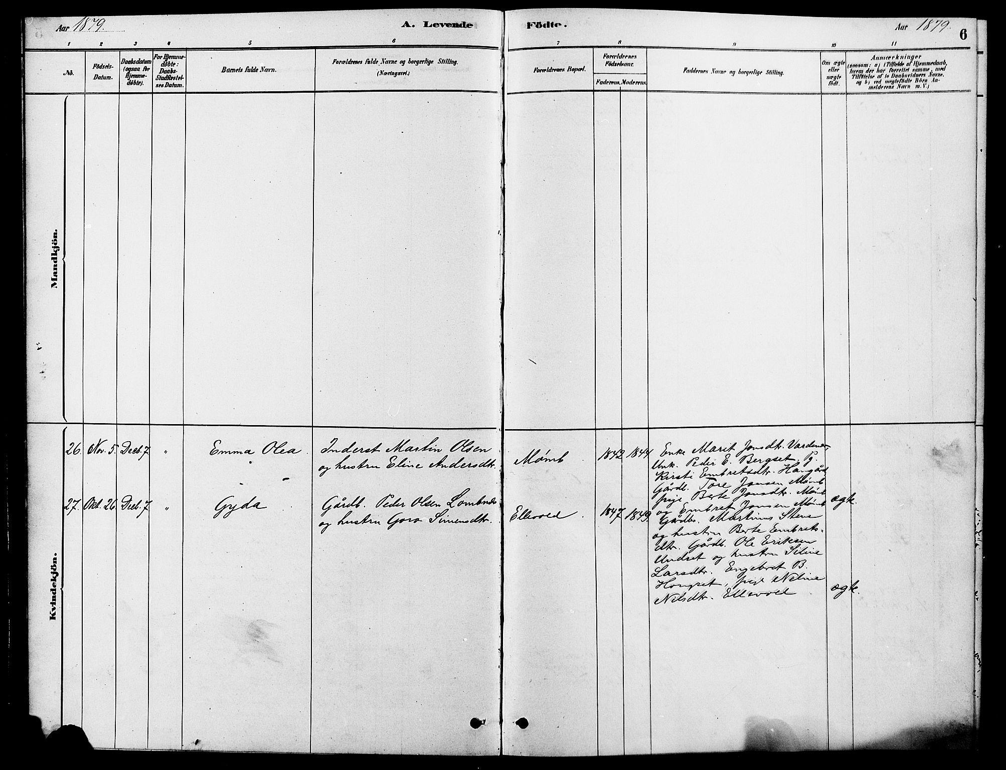 SAH, Rendalen prestekontor, H/Ha/Hab/L0003: Klokkerbok nr. 3, 1879-1904, s. 6