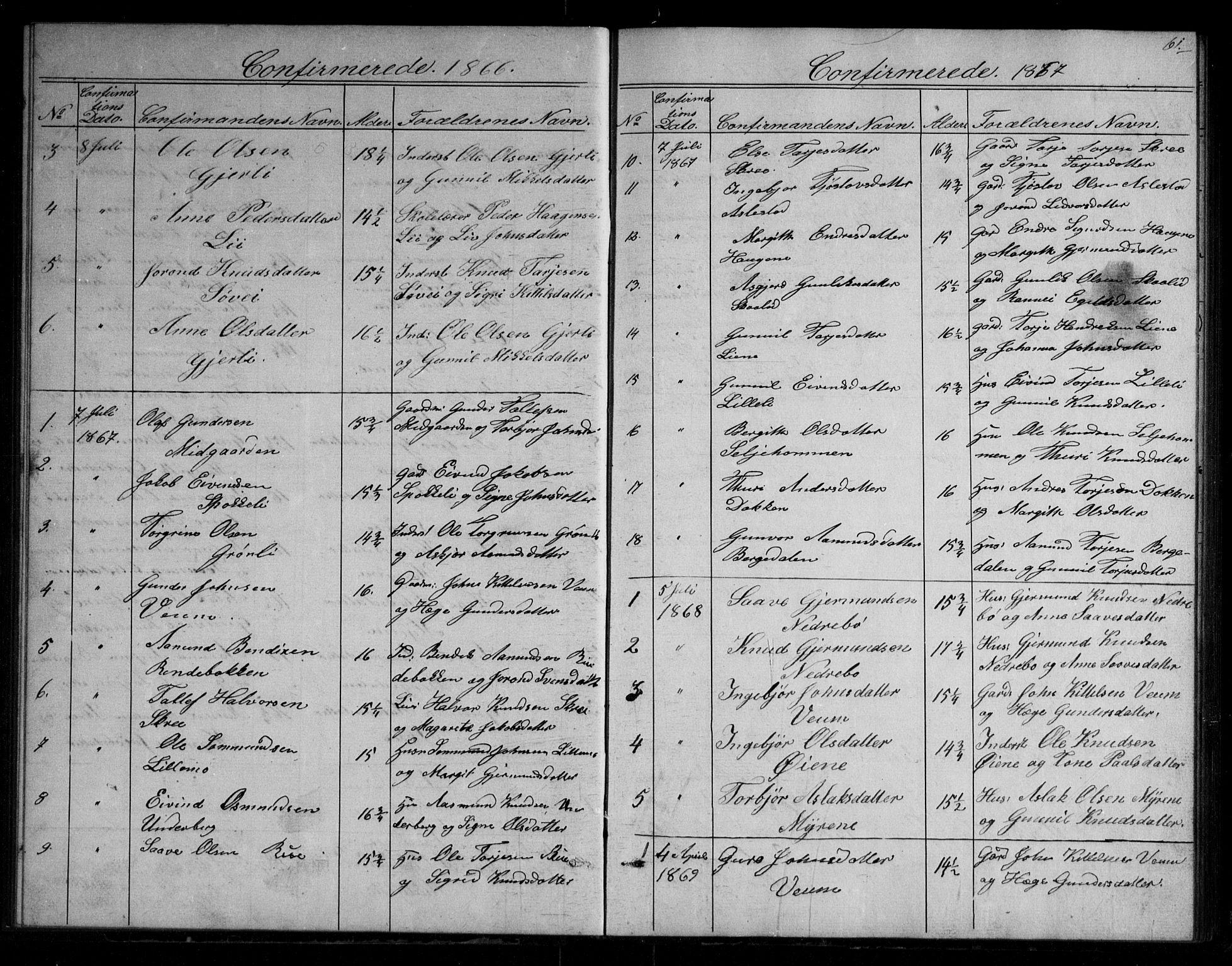 SAKO, Fyresdal kirkebøker, G/Gb/L0001: Klokkerbok nr. II 1, 1864-1890, s. 61