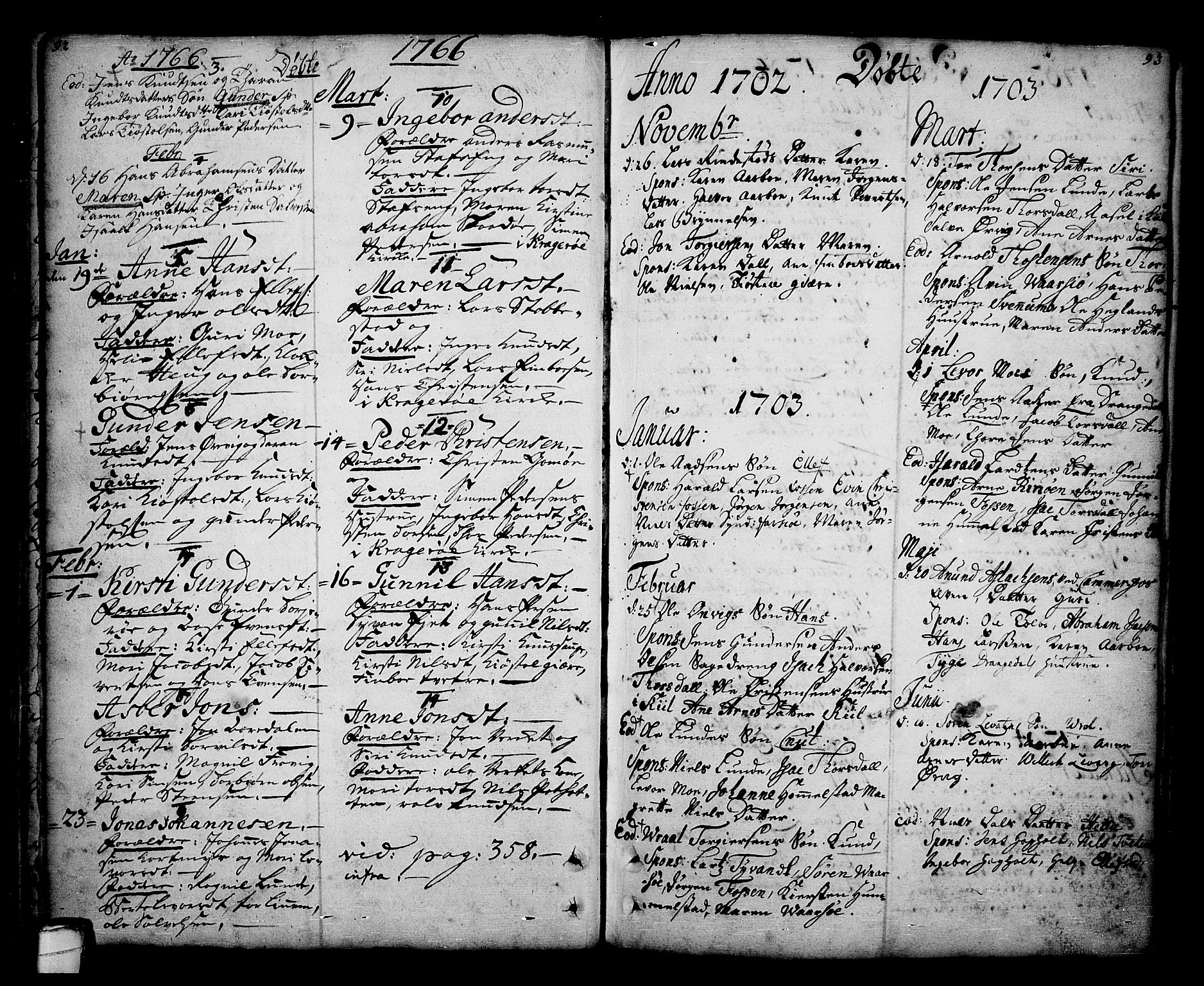 SAKO, Sannidal kirkebøker, F/Fa/L0001: Ministerialbok nr. 1, 1702-1766, s. 92-93