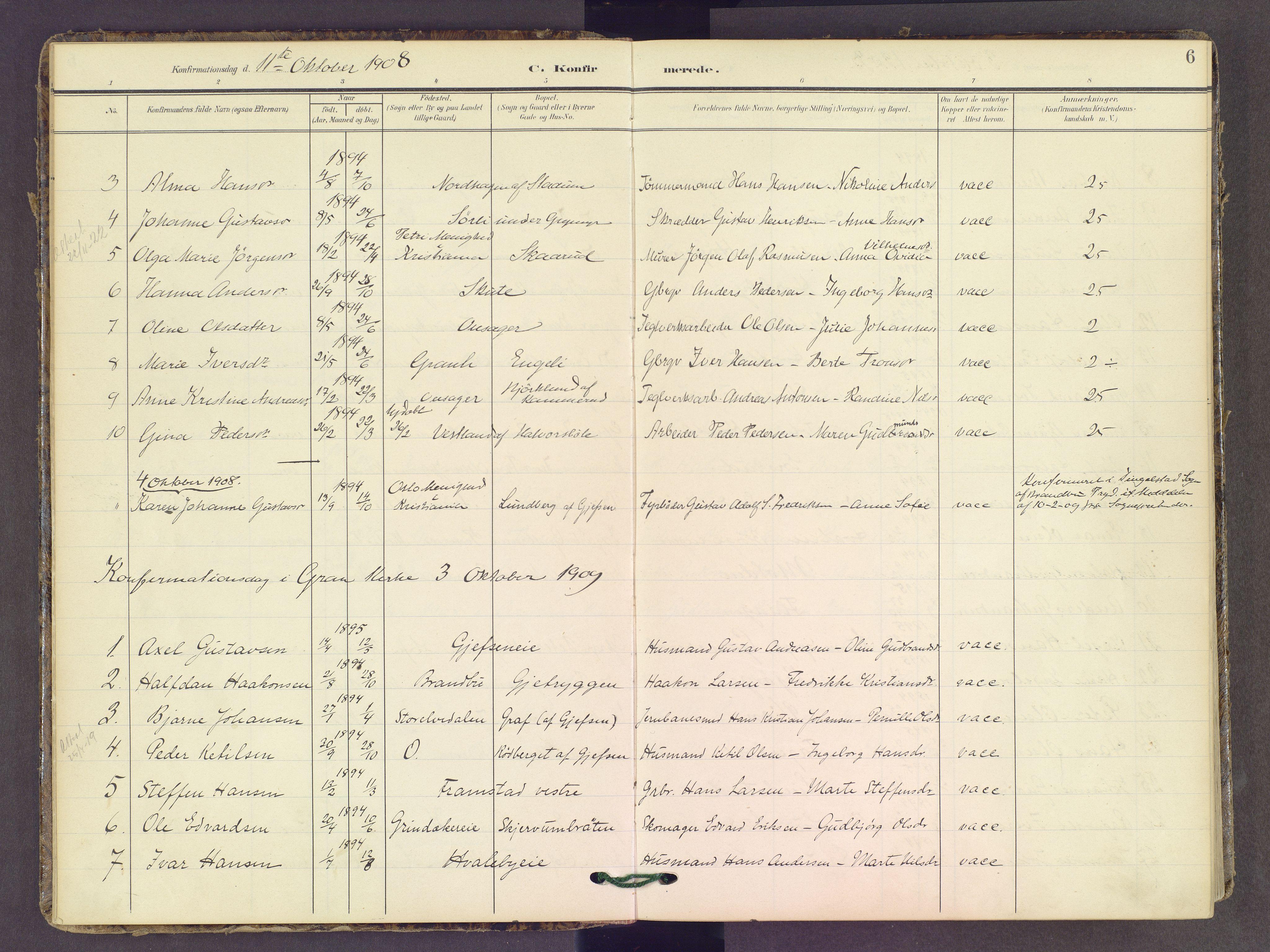 SAH, Gran prestekontor, Ministerialbok nr. 22, 1908-1918, s. 6