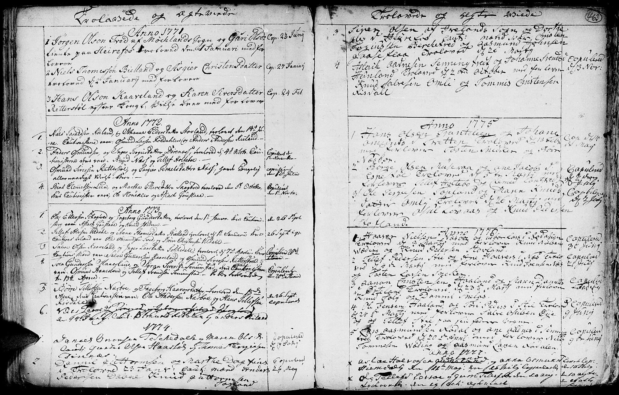 SAK, Hommedal sokneprestkontor, F/Fa/Fab/L0002: Ministerialbok nr. A 2 /3, 1740-1821, s. 463