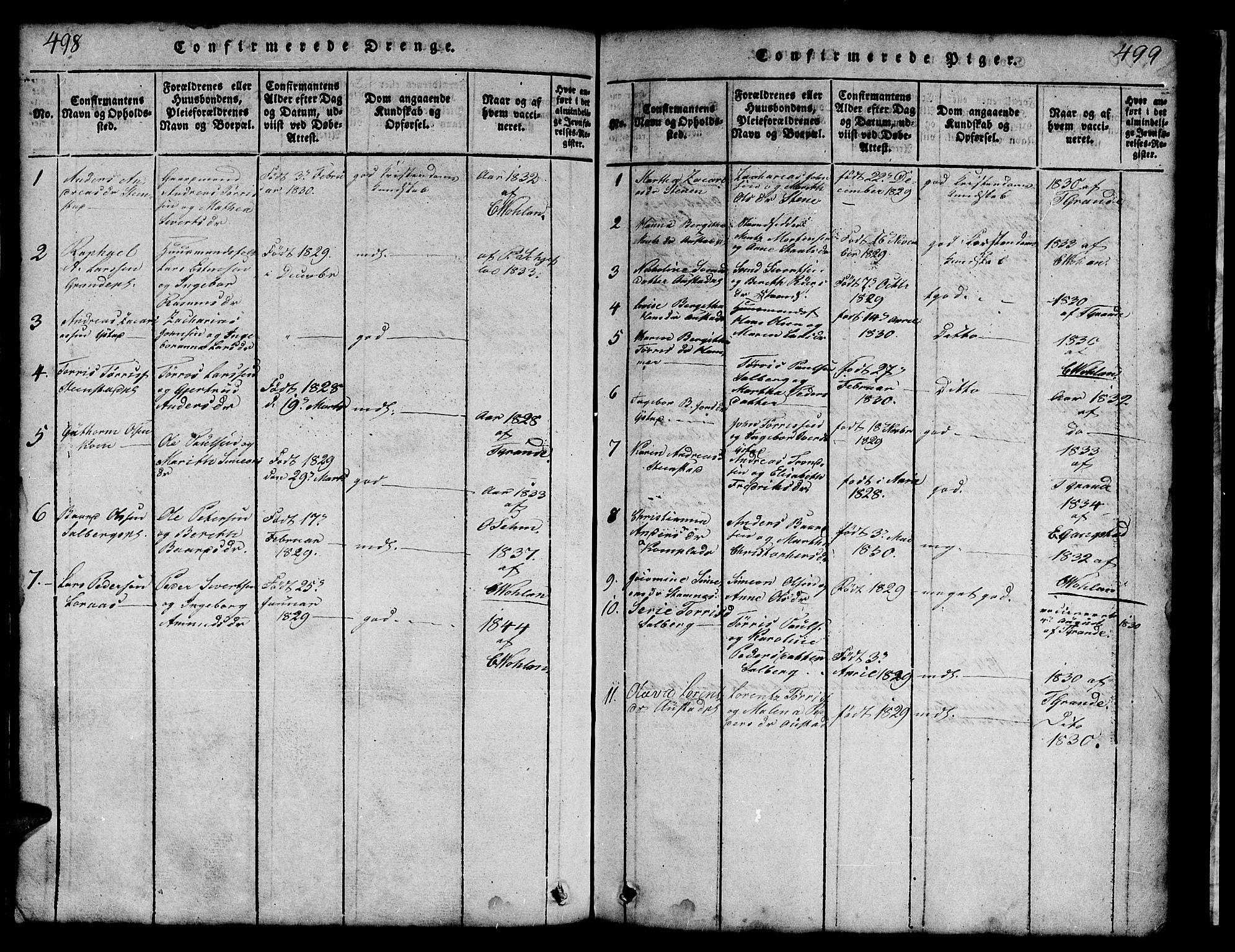 SAT, Ministerialprotokoller, klokkerbøker og fødselsregistre - Nord-Trøndelag, 731/L0310: Klokkerbok nr. 731C01, 1816-1874, s. 498-499