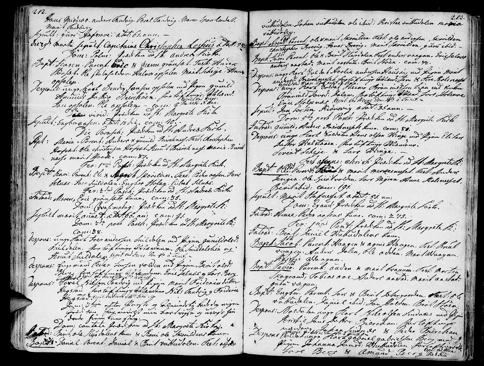 SAT, Ministerialprotokoller, klokkerbøker og fødselsregistre - Sør-Trøndelag, 630/L0489: Ministerialbok nr. 630A02, 1757-1794, s. 212-213