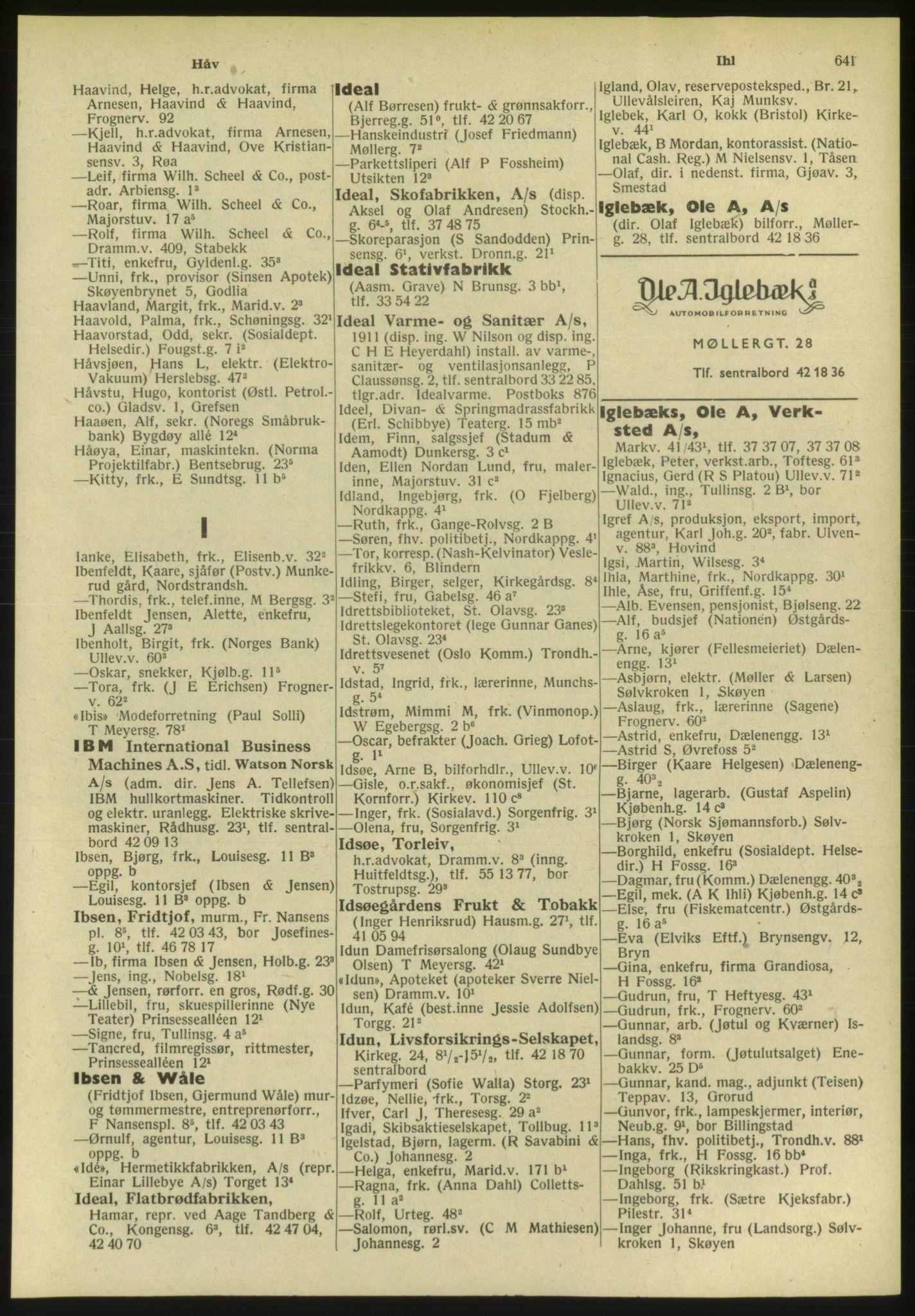 PUBL, Kristiania/Oslo adressebok, 1951, s. 641