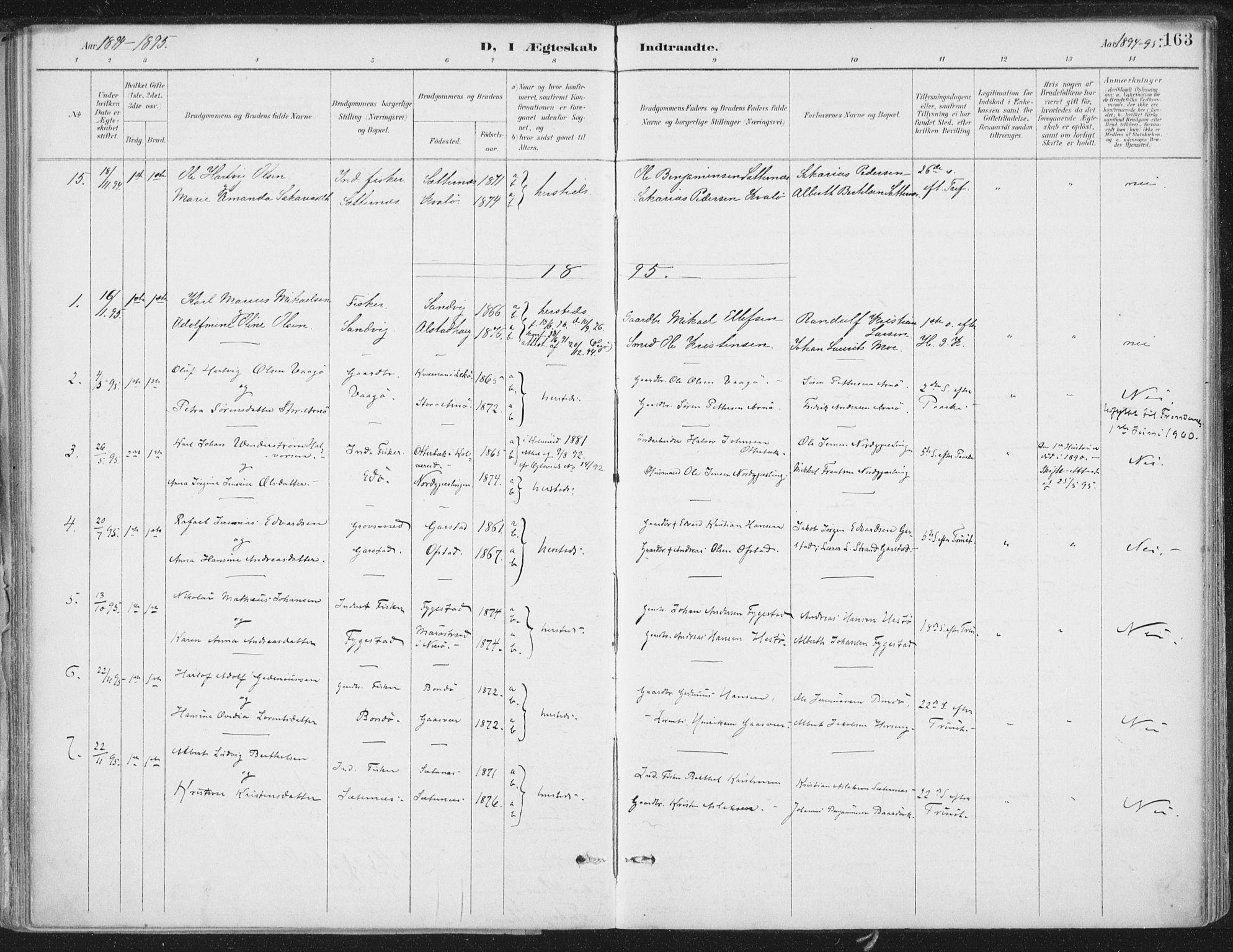 SAT, Ministerialprotokoller, klokkerbøker og fødselsregistre - Nord-Trøndelag, 786/L0687: Ministerialbok nr. 786A03, 1888-1898, s. 163