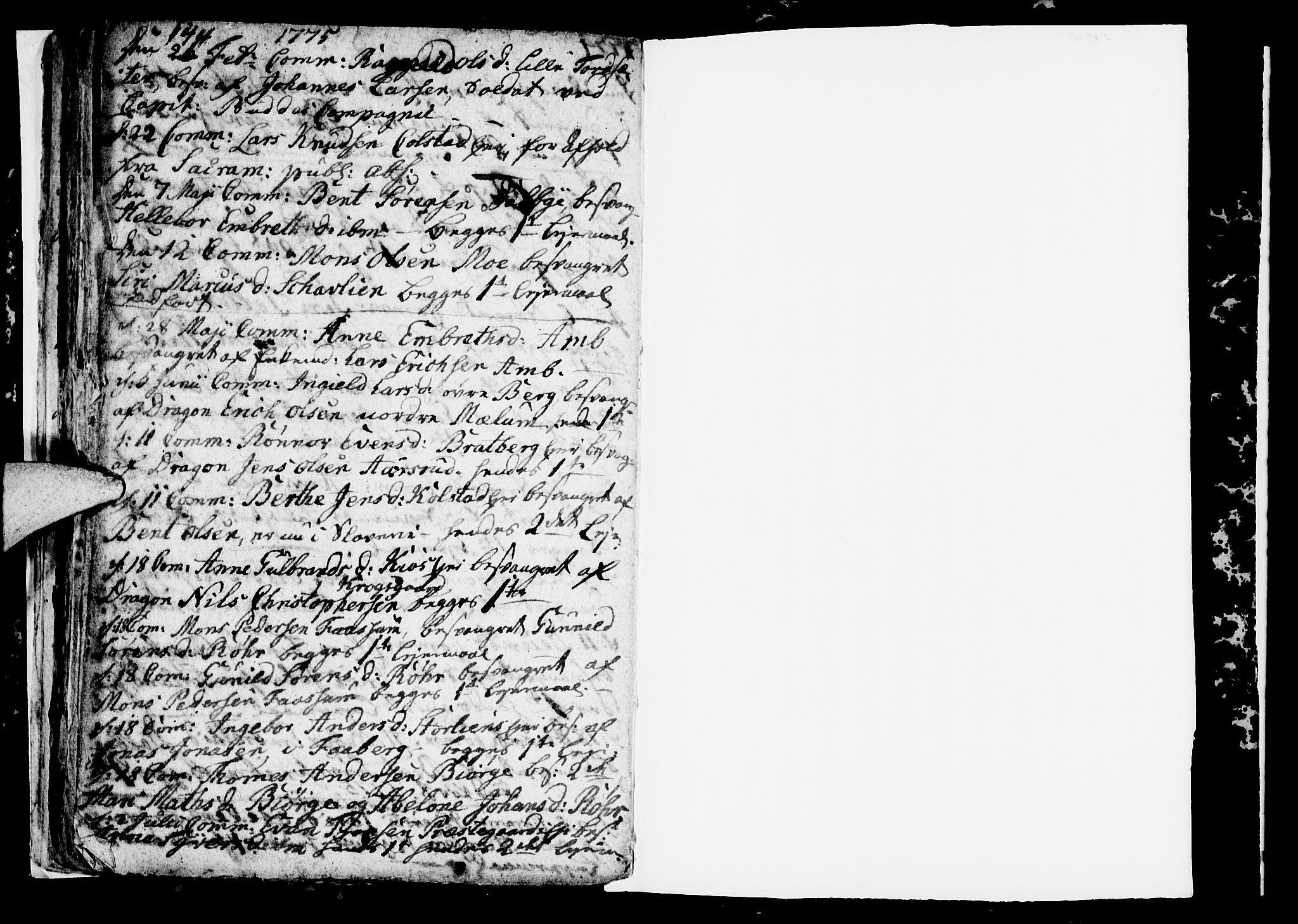 SAH, Ringsaker prestekontor, I/Ia/L0005/0001: Kladd til kirkebok nr. 1A, 1773-1775, s. 144-145