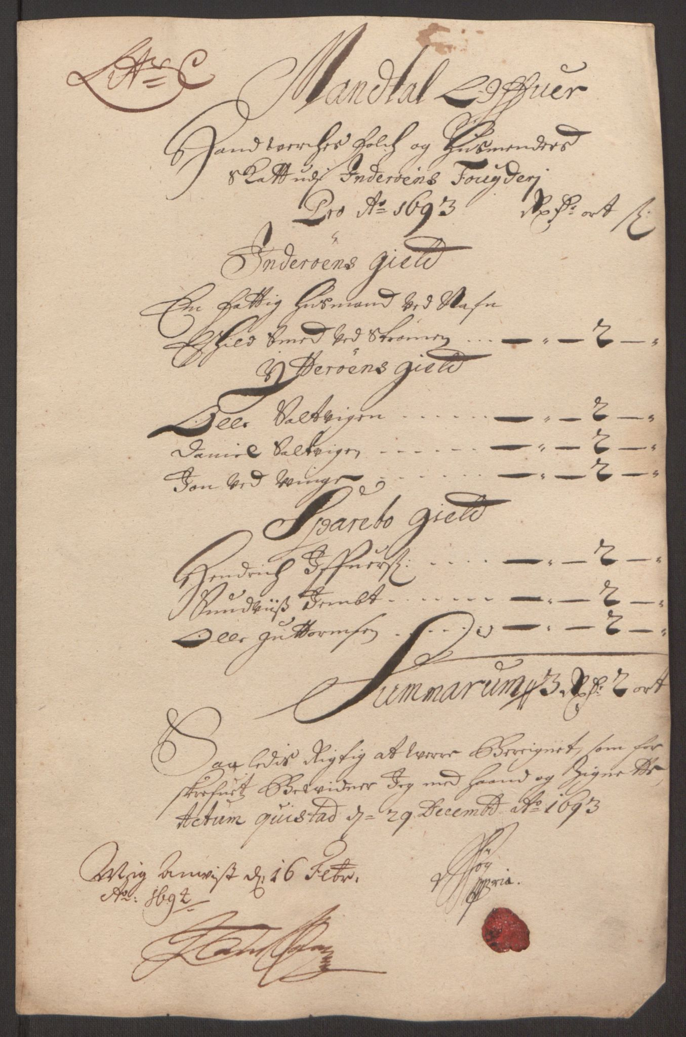 RA, Rentekammeret inntil 1814, Reviderte regnskaper, Fogderegnskap, R63/L4308: Fogderegnskap Inderøy, 1692-1694, s. 431