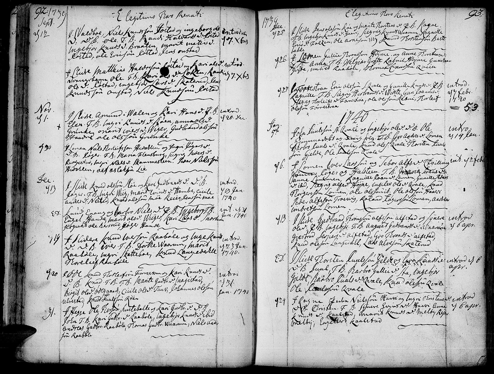 SAH, Slidre prestekontor, Ministerialbok nr. 1, 1724-1814, s. 92-93