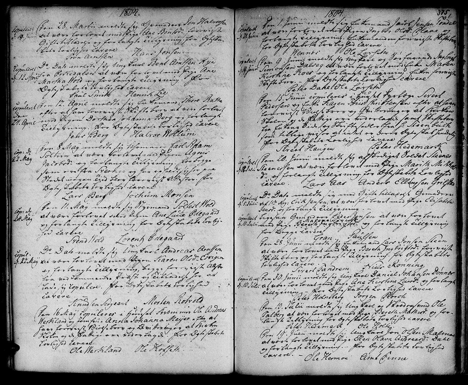 SAT, Ministerialprotokoller, klokkerbøker og fødselsregistre - Sør-Trøndelag, 601/L0038: Ministerialbok nr. 601A06, 1766-1877, s. 375