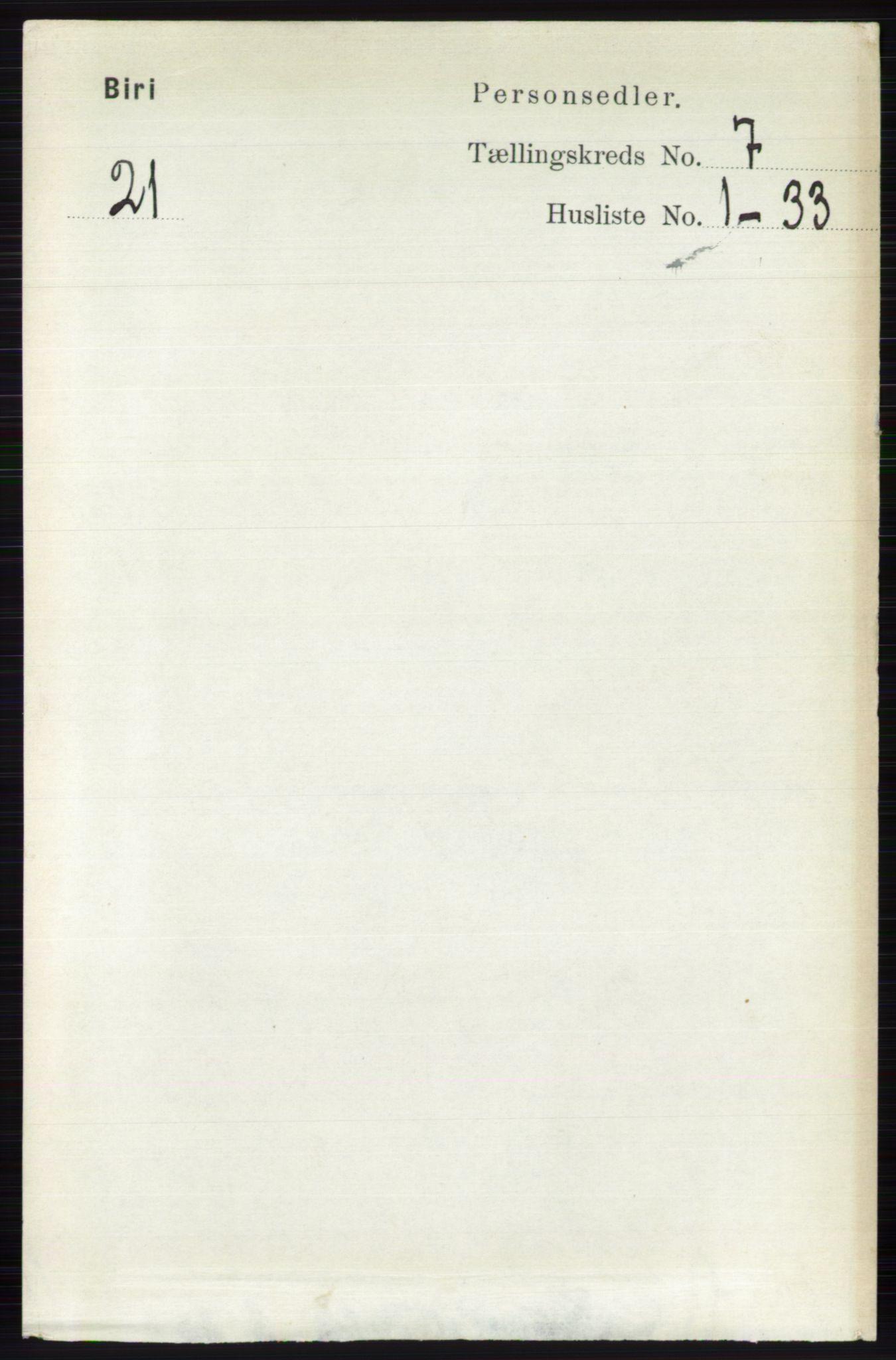 RA, Folketelling 1891 for 0525 Biri herred, 1891, s. 2448