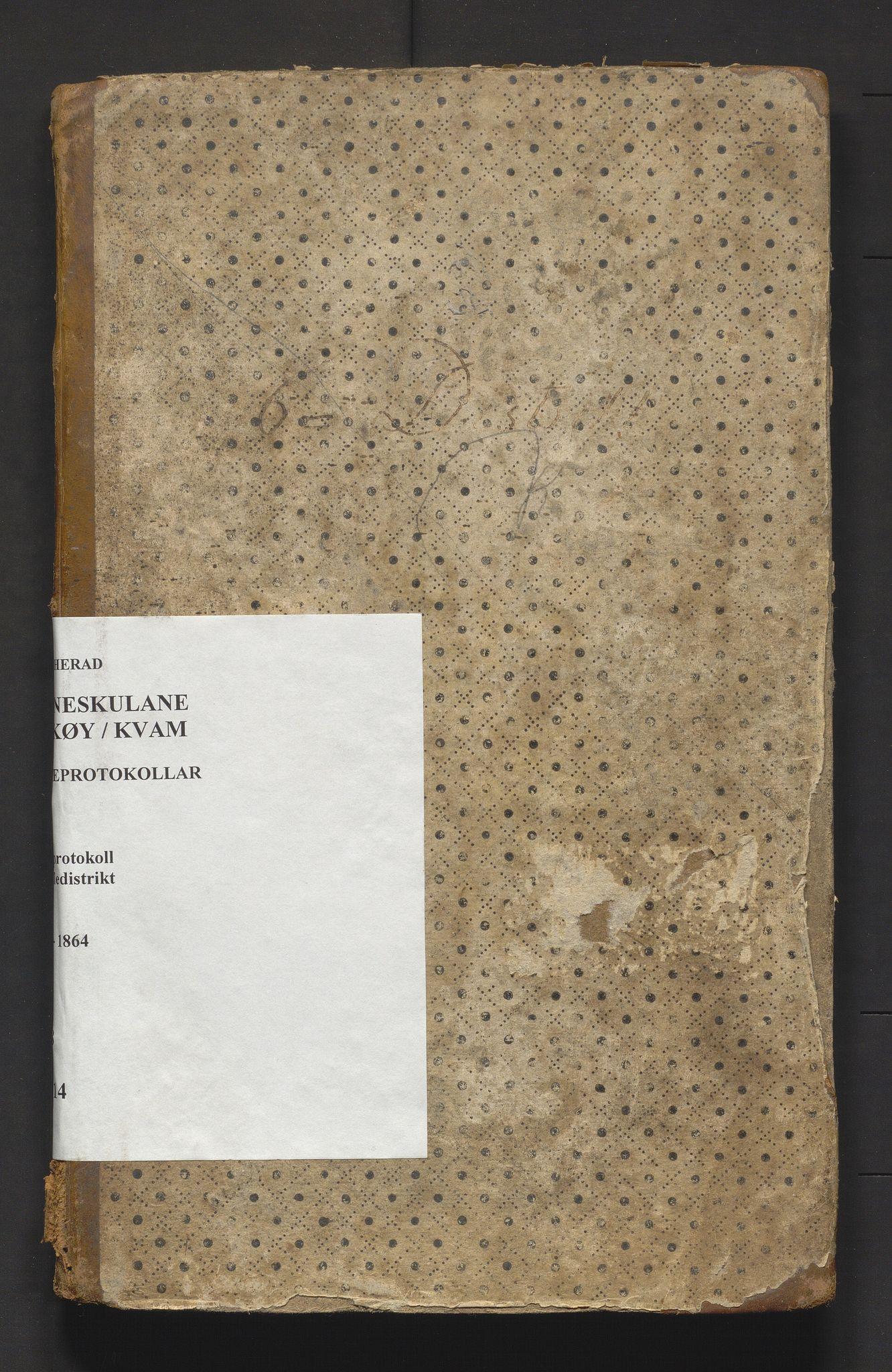 IKAH, Kvam herad. Barneskulane, F/Fa/L0014: Skuleprotokoll for skoleholderen i Vikøy prestegjeld 6. skuledistrikt m/ inventarliste, 1833-1864