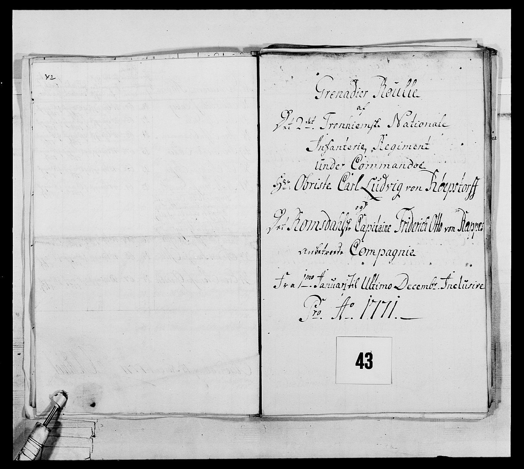 RA, Generalitets- og kommissariatskollegiet, Det kongelige norske kommissariatskollegium, E/Eh/L0076: 2. Trondheimske nasjonale infanteriregiment, 1766-1773, s. 135